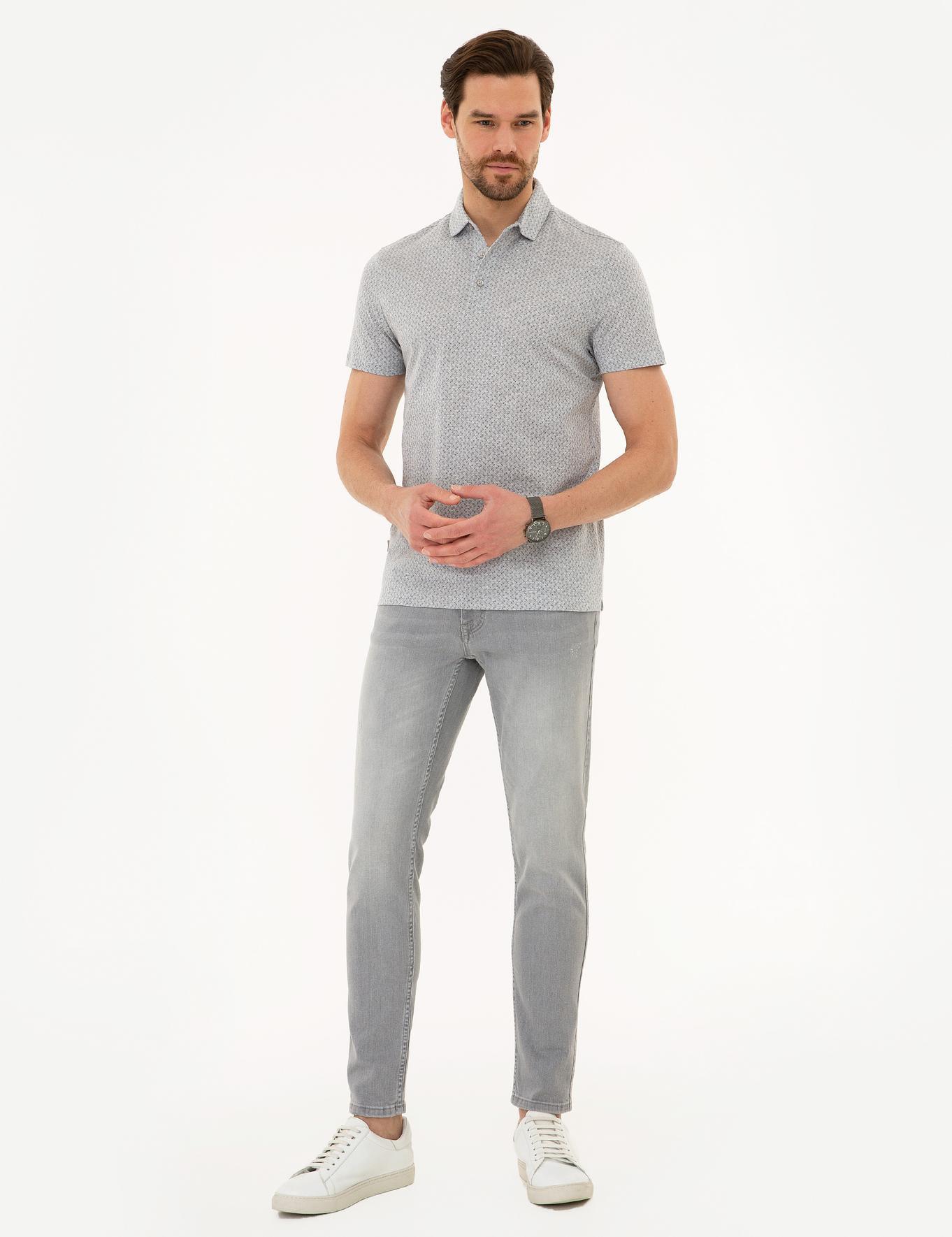 Açık Gri Slim Fit Merserize Polo Yaka T-Shirt