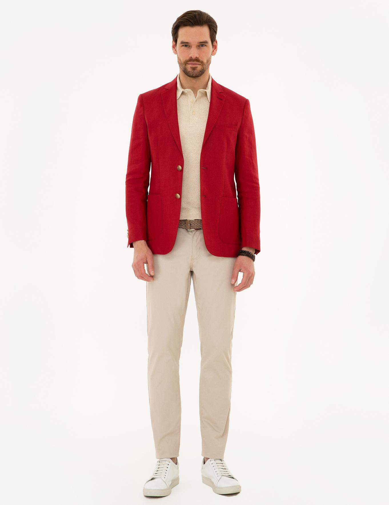 Kırmızı Slim Fit Ceket
