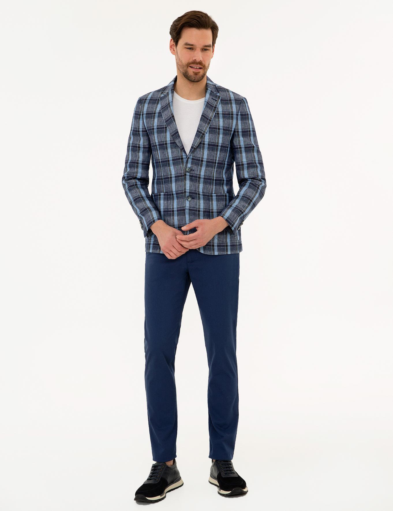 Koyu Mavi Slim Fit Ekose Ceket