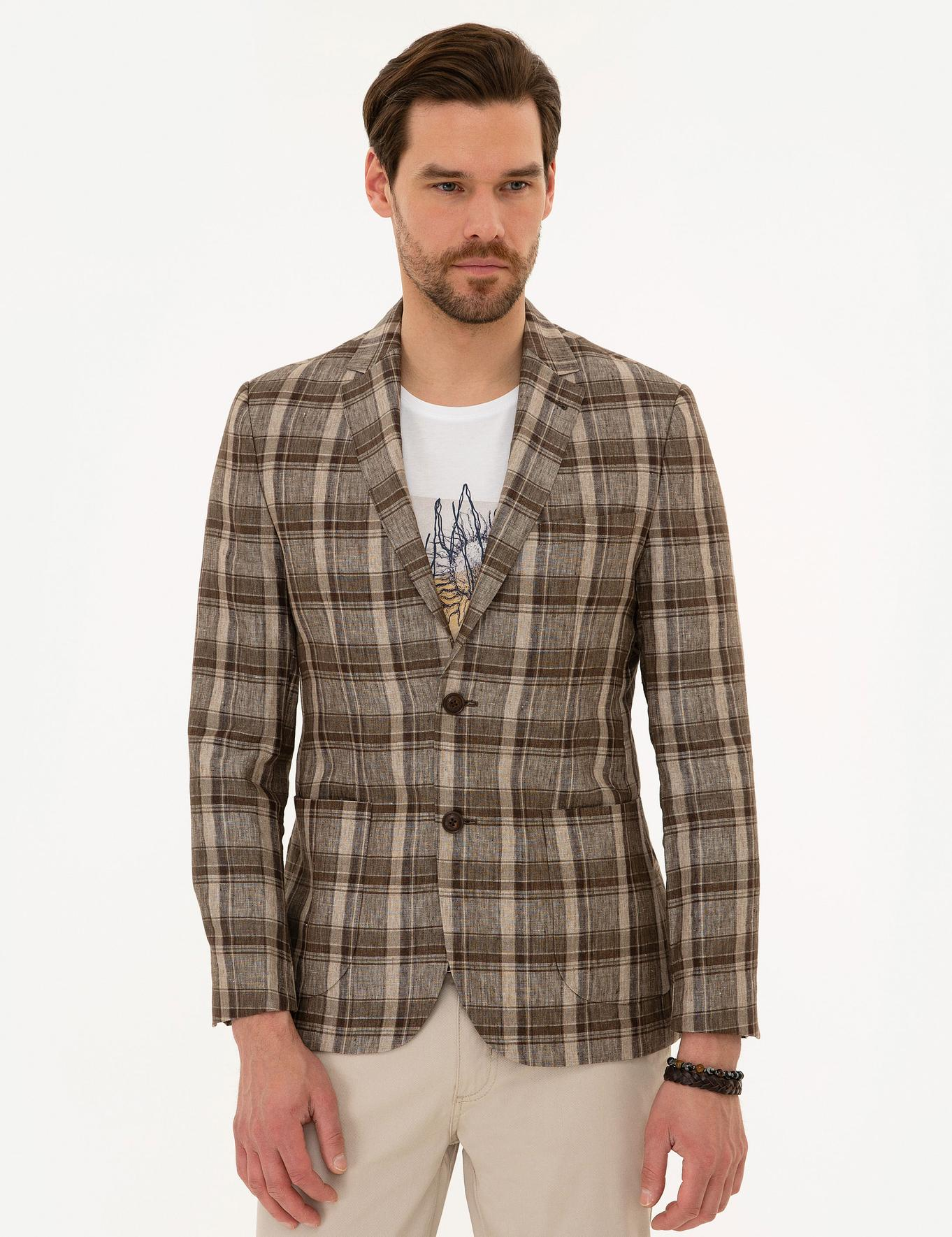 Açık Kahverengi Slim Fit Ekose Ceket