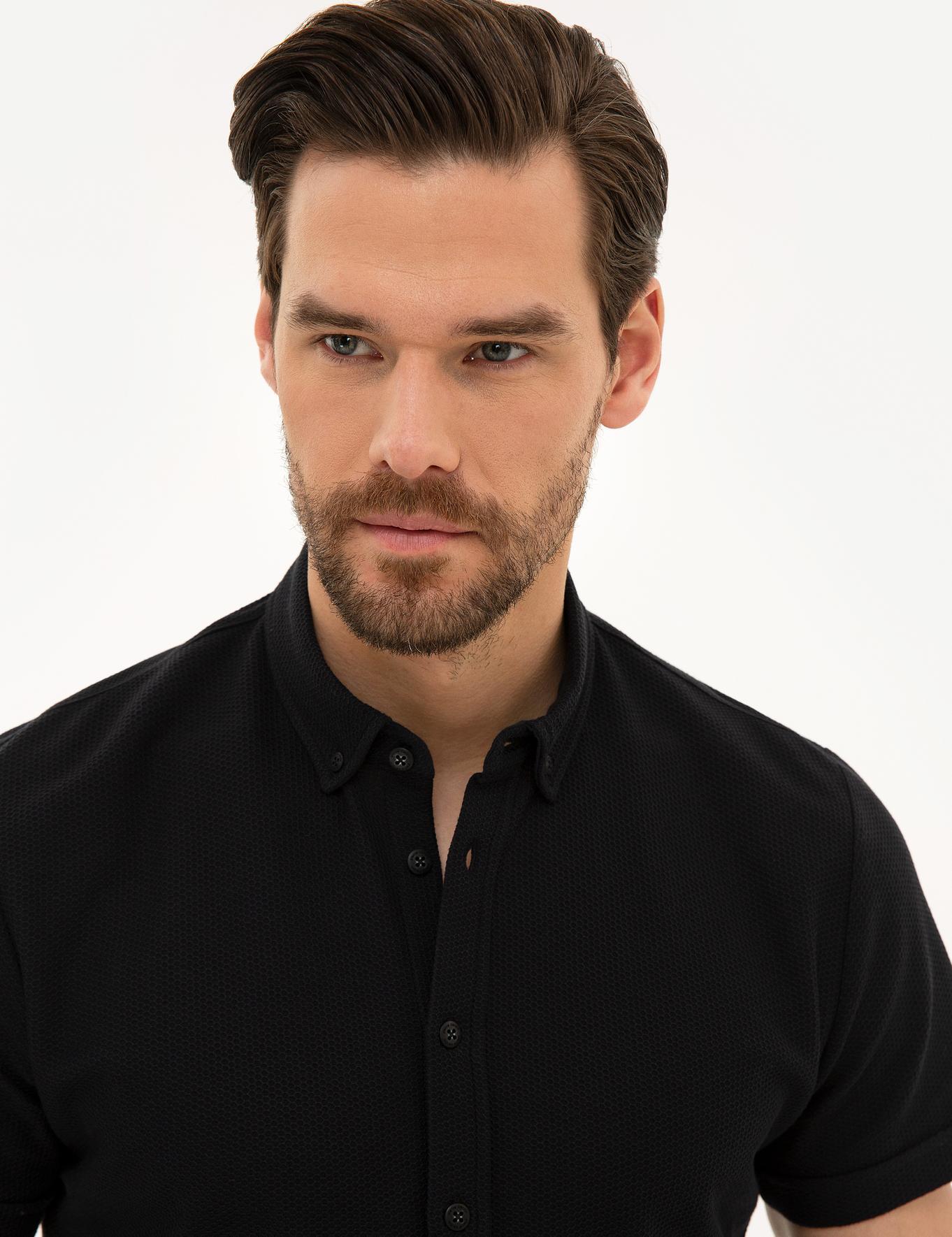 Siyah Slim Fit Merserize Polo Yaka T-Shirt