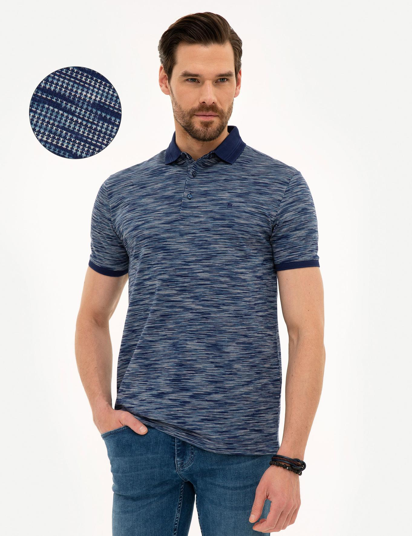 Lacivert Slim Fit Merserize Polo Yaka T-Shirt