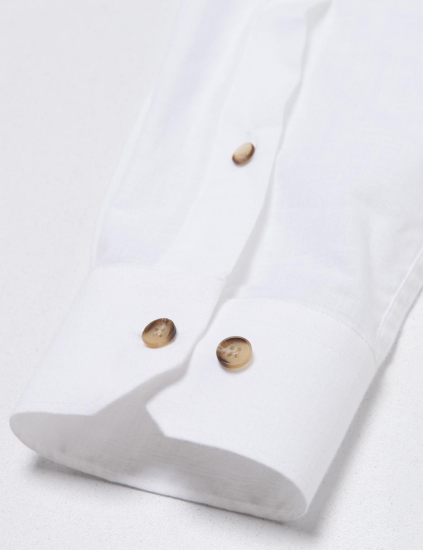 Turuncu Detaylı Beyaz Slim Fit Gömlek