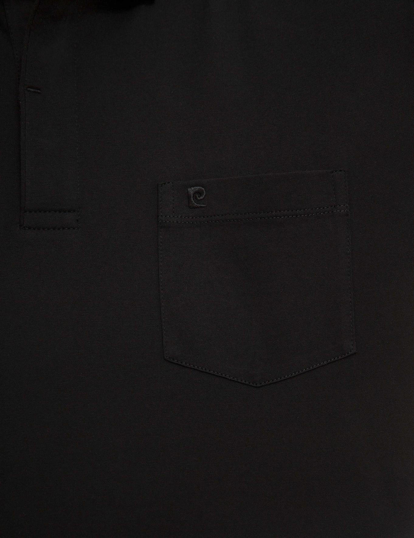 Siyah Regular Fit Merserize Polo Yaka T-Shirt
