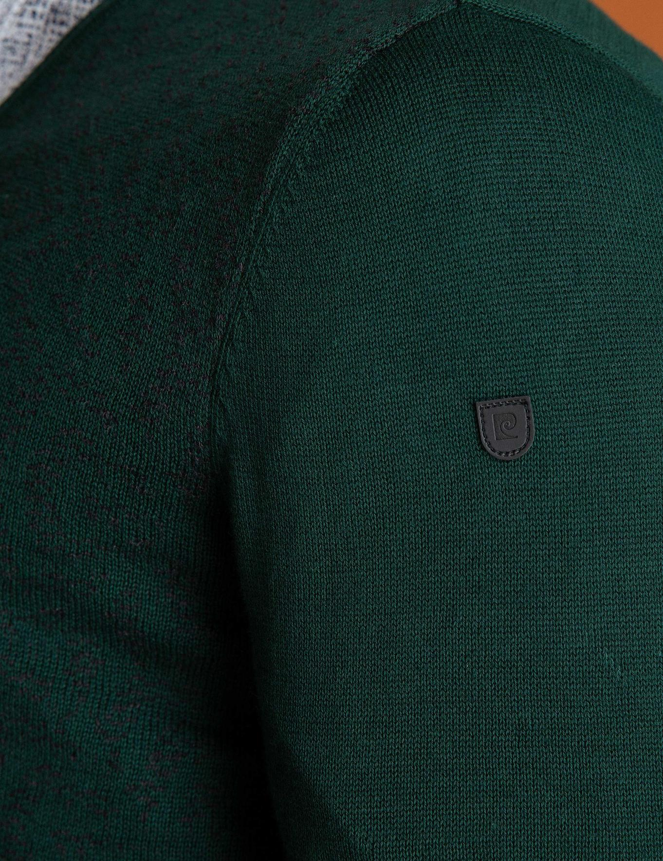 Yeşil Slim Fit V Yaka Triko Kazak