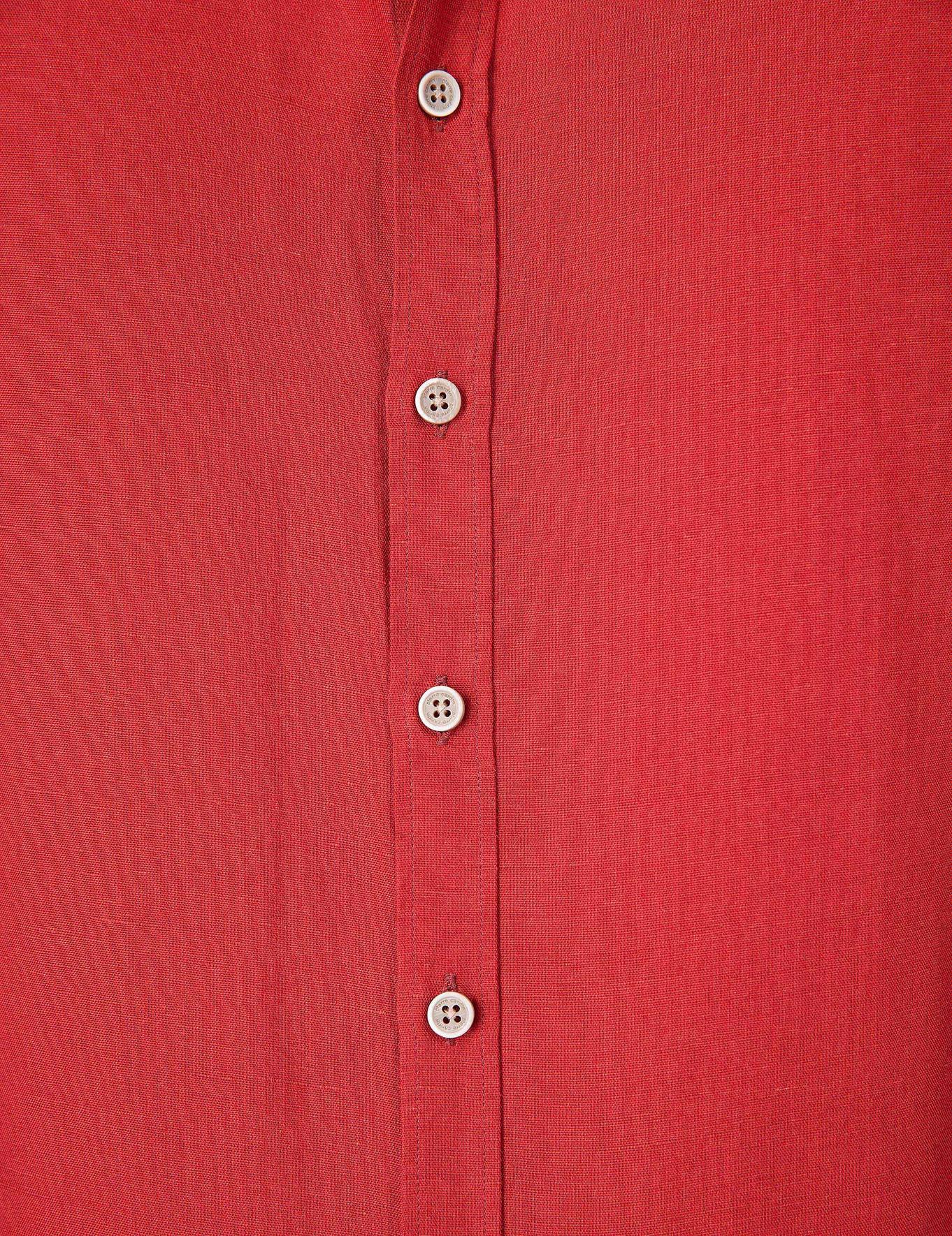 Kiremit Slim Fit Keten Karışımlı Gömlek