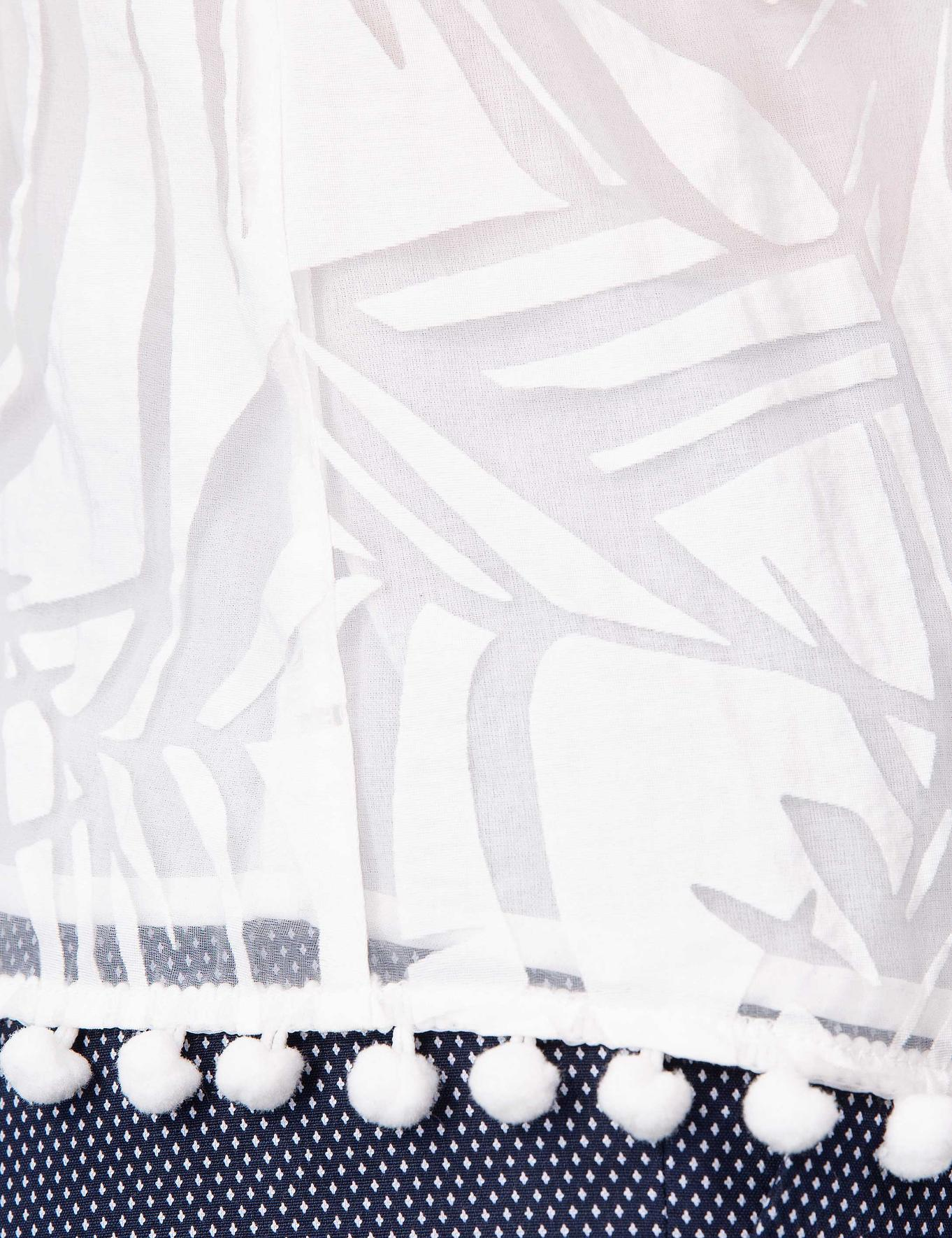 Beyaz Bisiklet Yaka Kolsuz Bluz