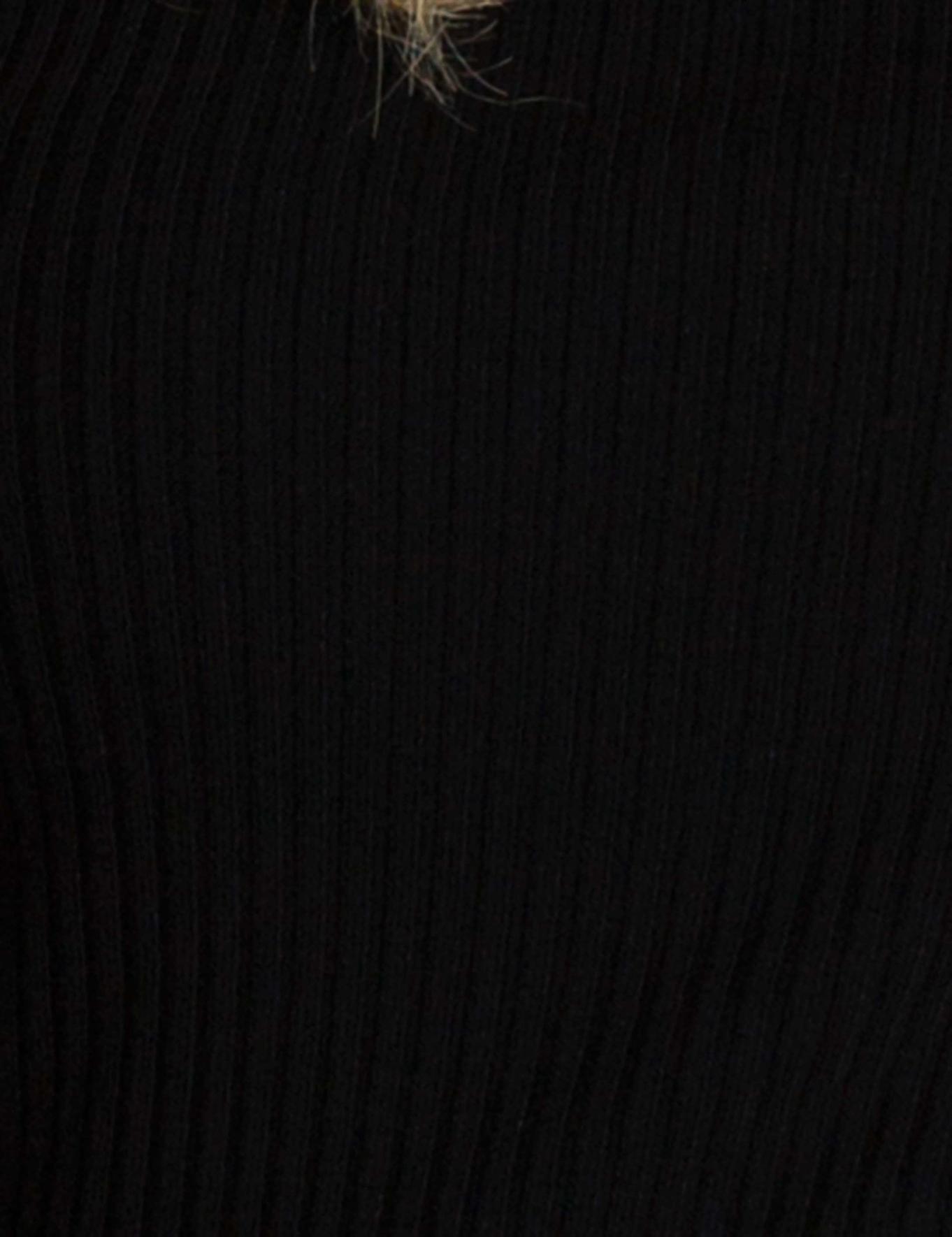Siyah Slim Fit Bisiklet Yaka Triko Kazak