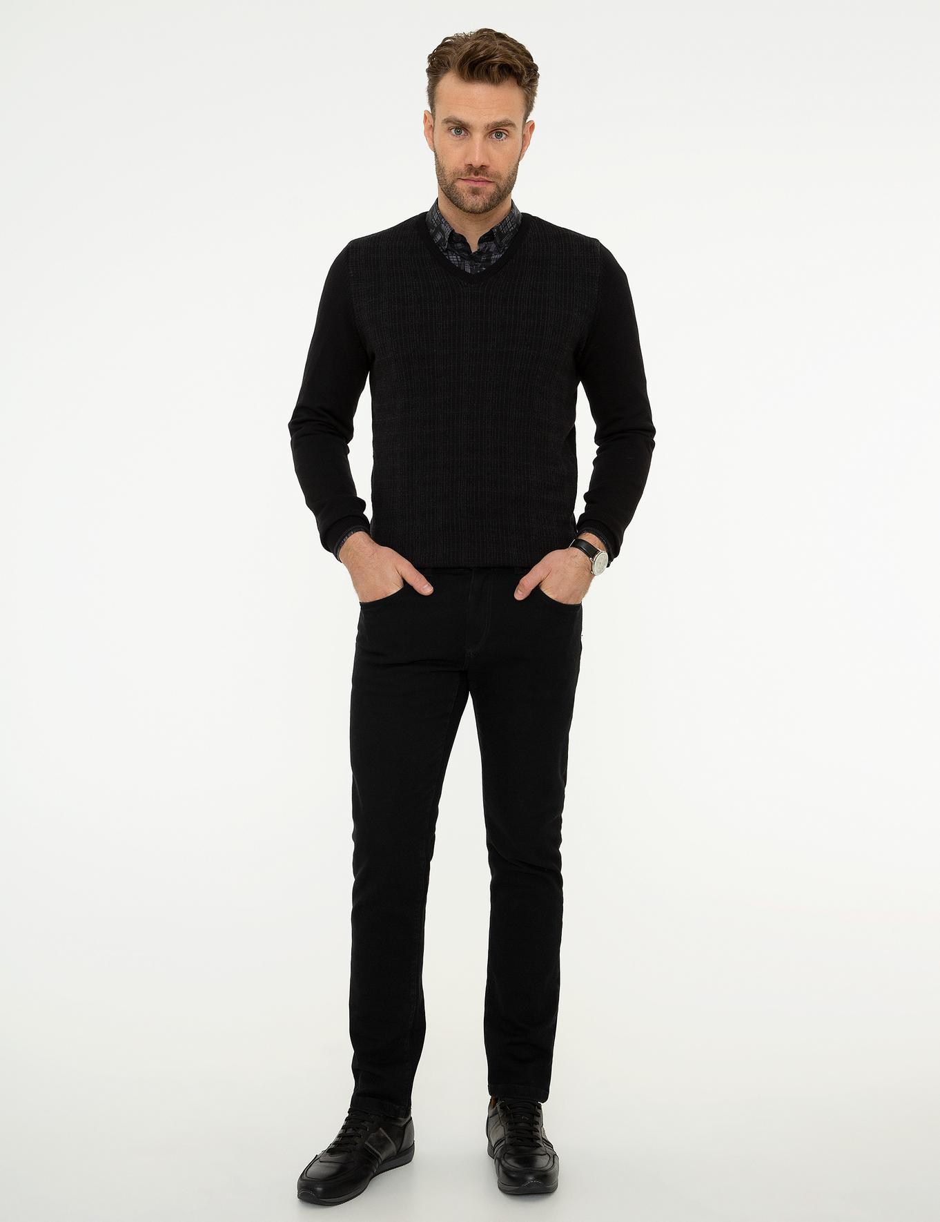 Siyah Slim Fit Triko Kazak