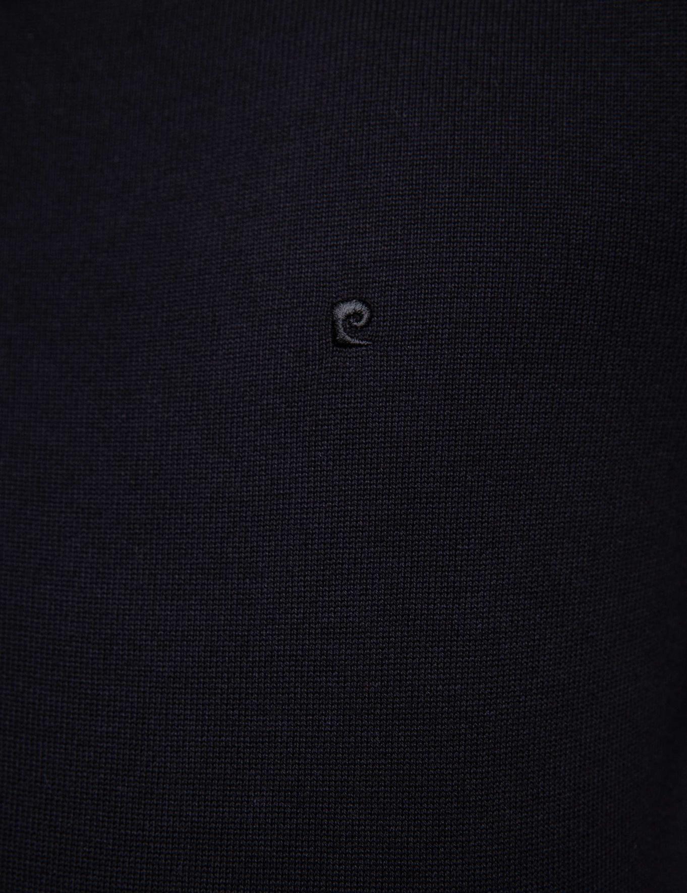 Siyah Slim Fit Bisiklet Yaka Basic Triko Kazak