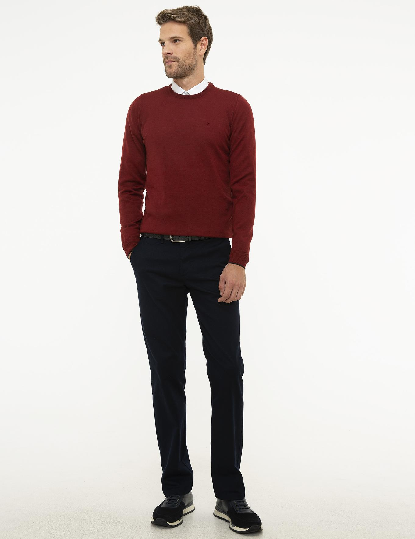 Kırmızı Slim Fit Basic Triko Kazak