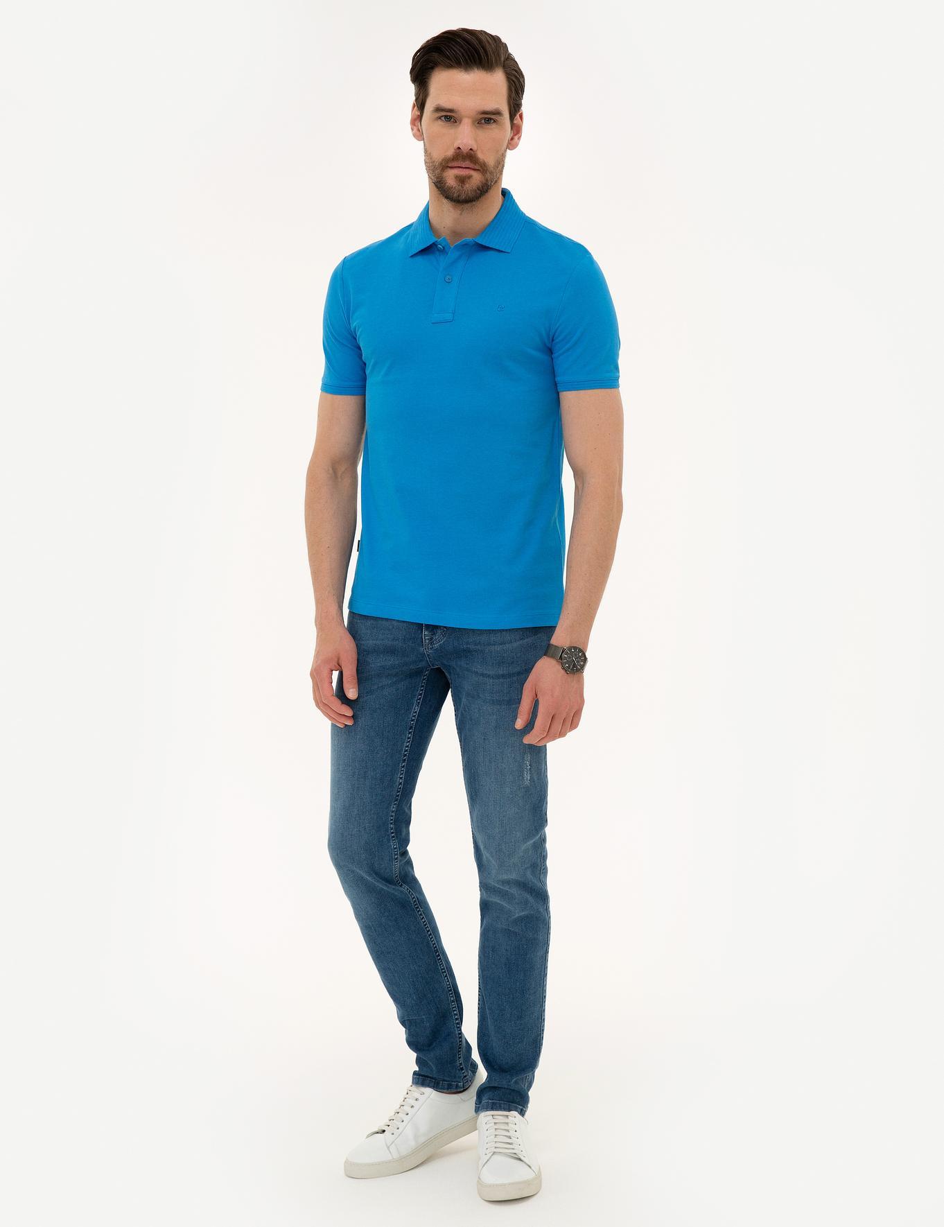 Kobalt Mavi Slim Fit T-Shirt