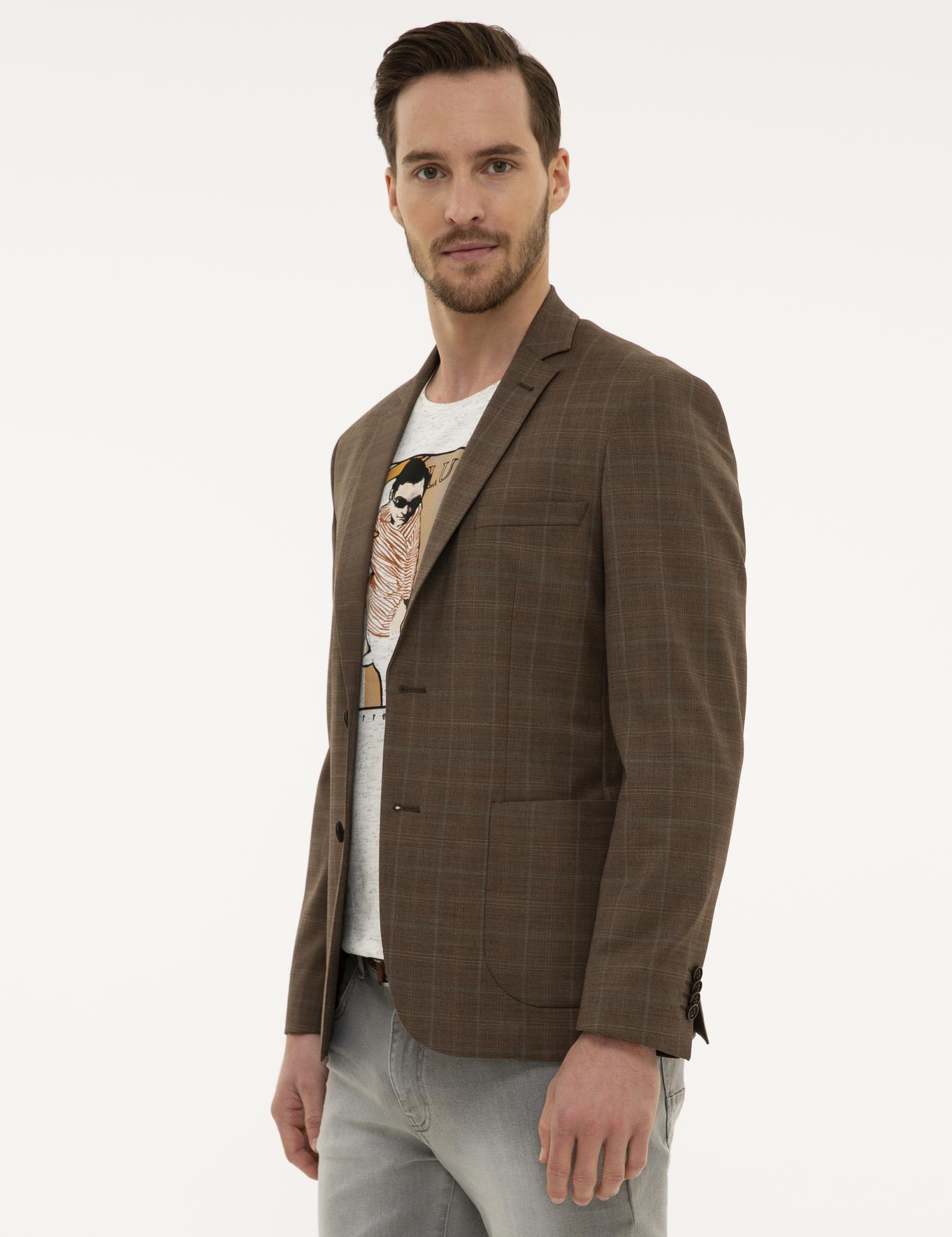 Açık Kahverengi Slim Fit Ceket