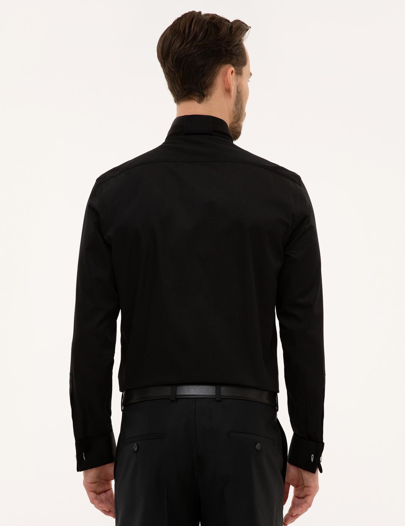 Siyah Slim Fit Smokin Gömlek