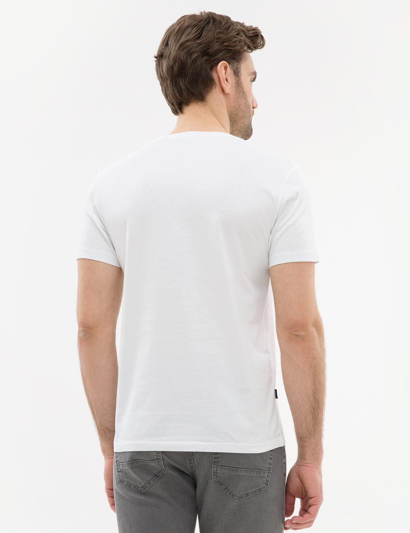 Kahverengi Çizgili Regular Fit Bisiklet Yaka T-Shirt