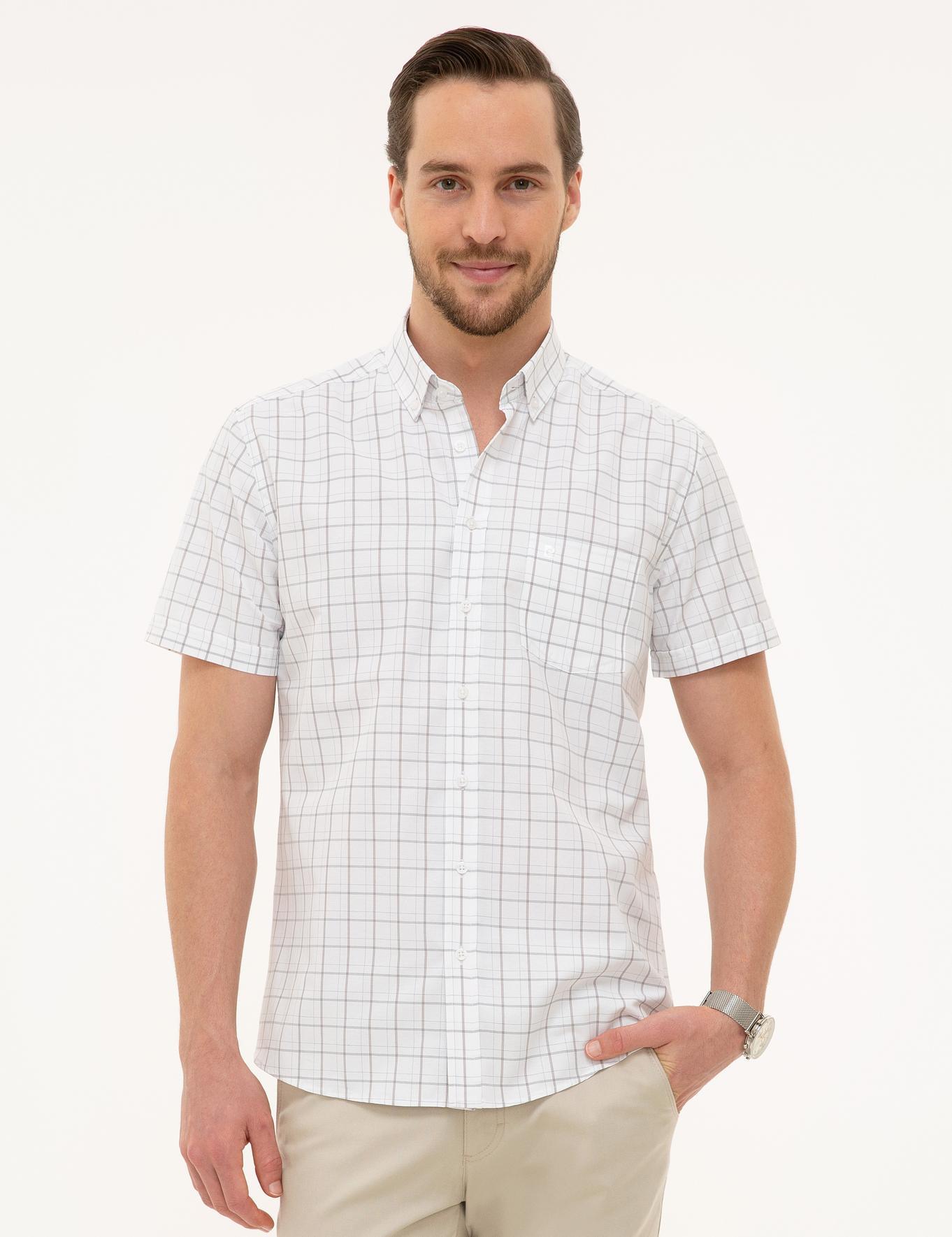 Açık Gri Regular Fit Kısakol Gömlek