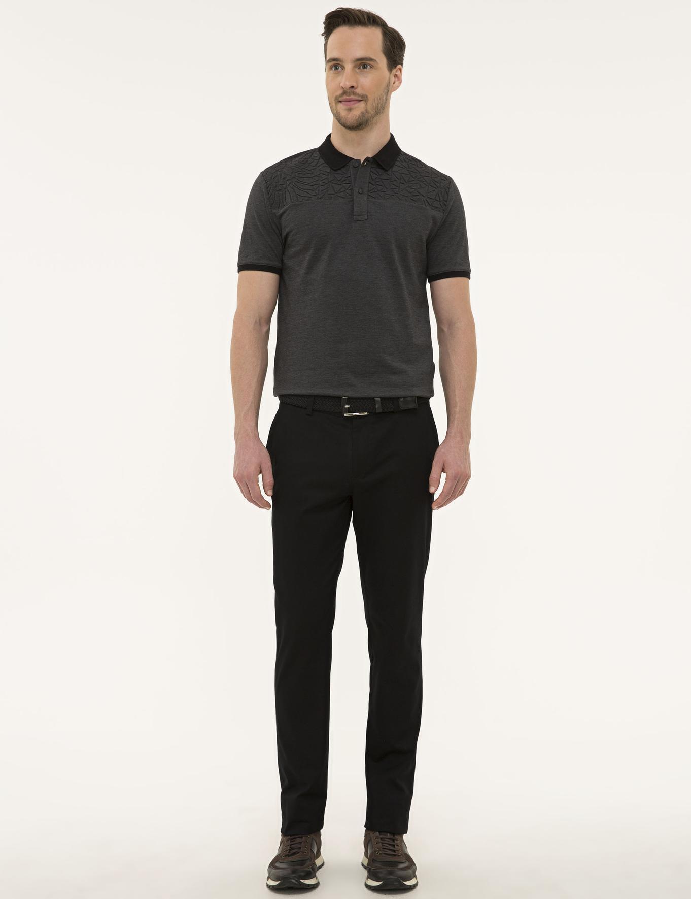 Siyah Regular Fit Chino Pantolon