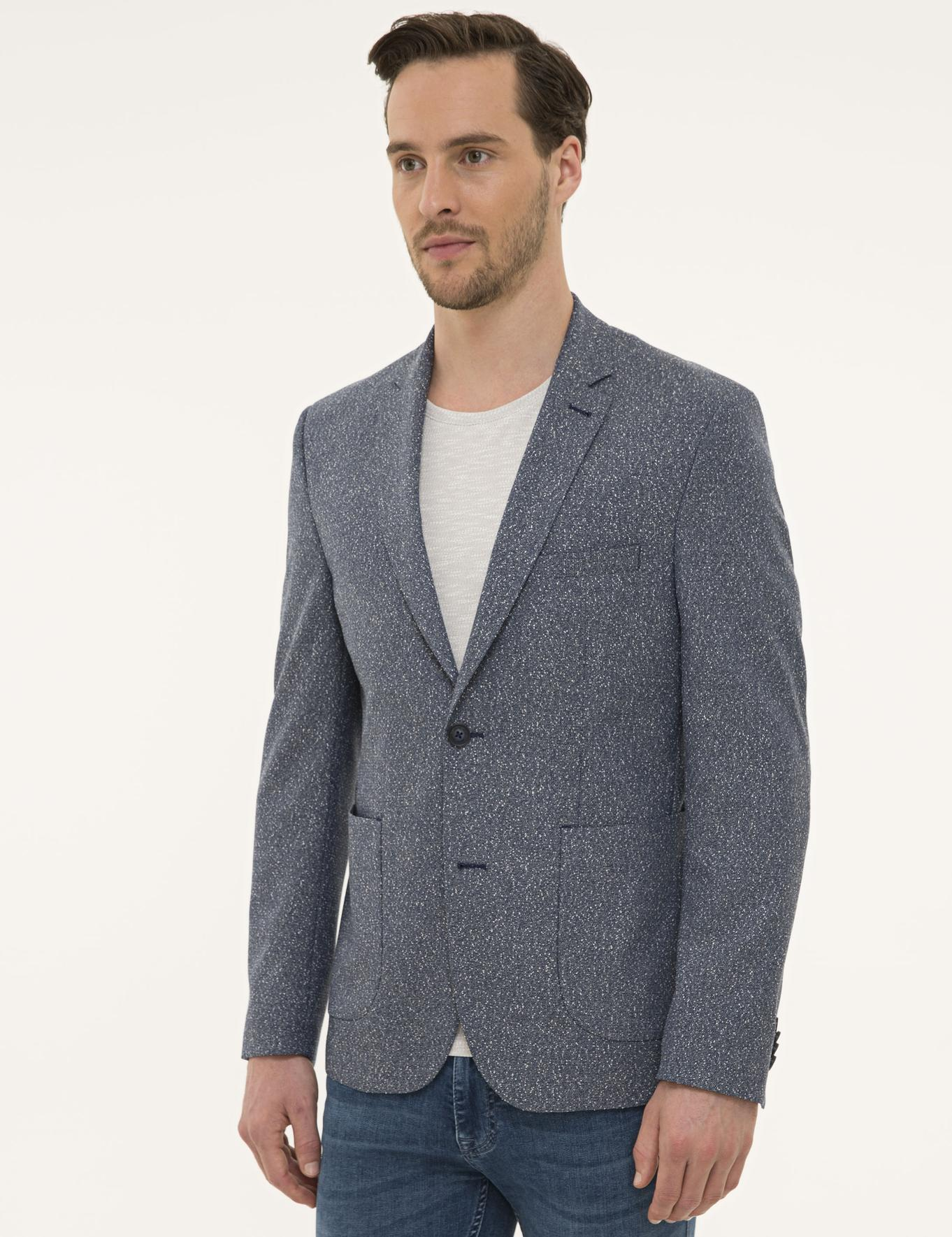 Koyu Mavi Slim Fit Ceket