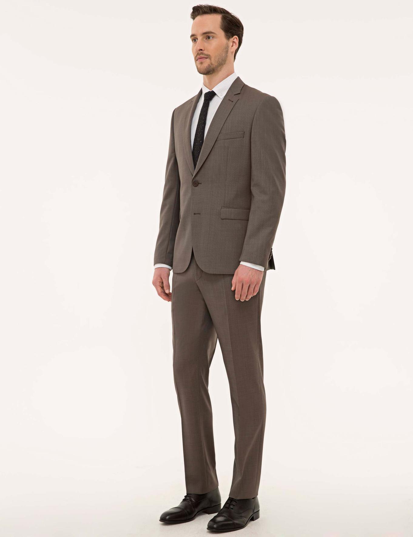 Açık Kahverengi Slim Fit Takım Elbise