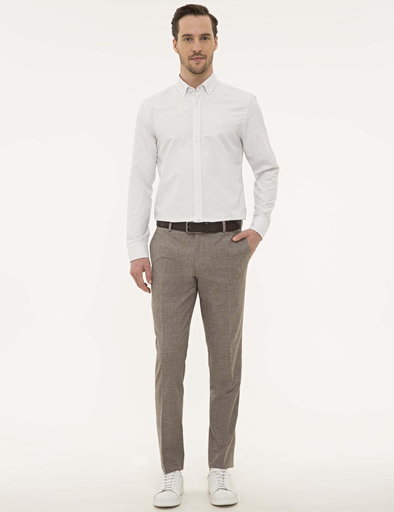 Kahverengi Detaylı Beyaz Slim Fit Gömlek