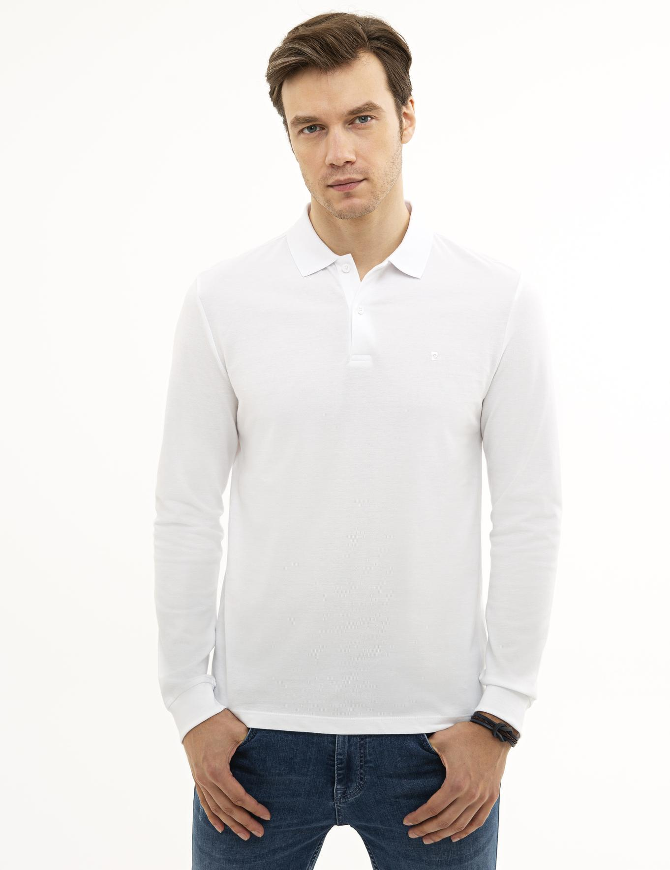 Beyaz Slim Fit Polo Yaka Sweatshirt