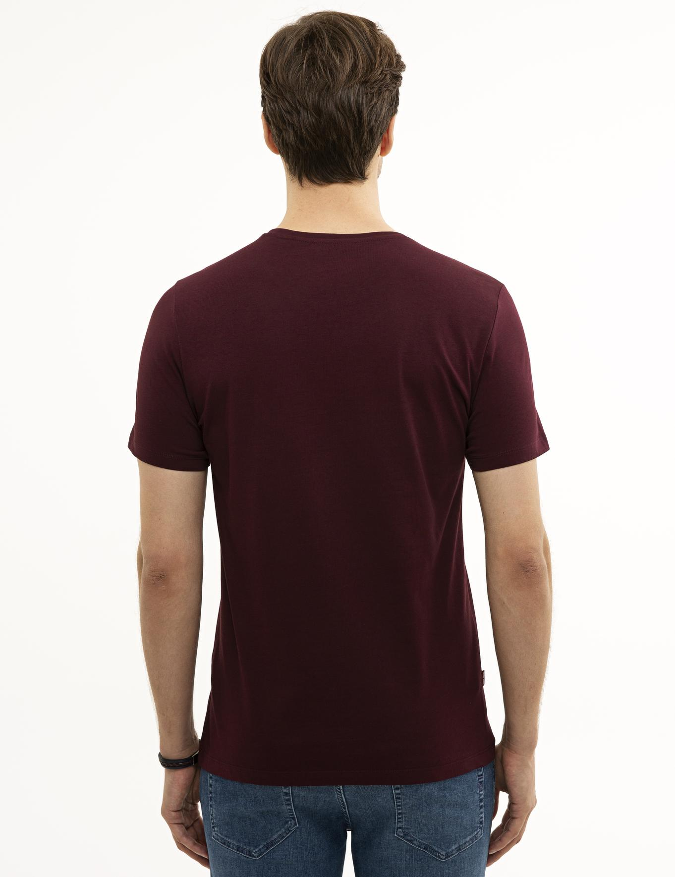 Bordo Slim Fit Bisiklet Yaka T-Shirt