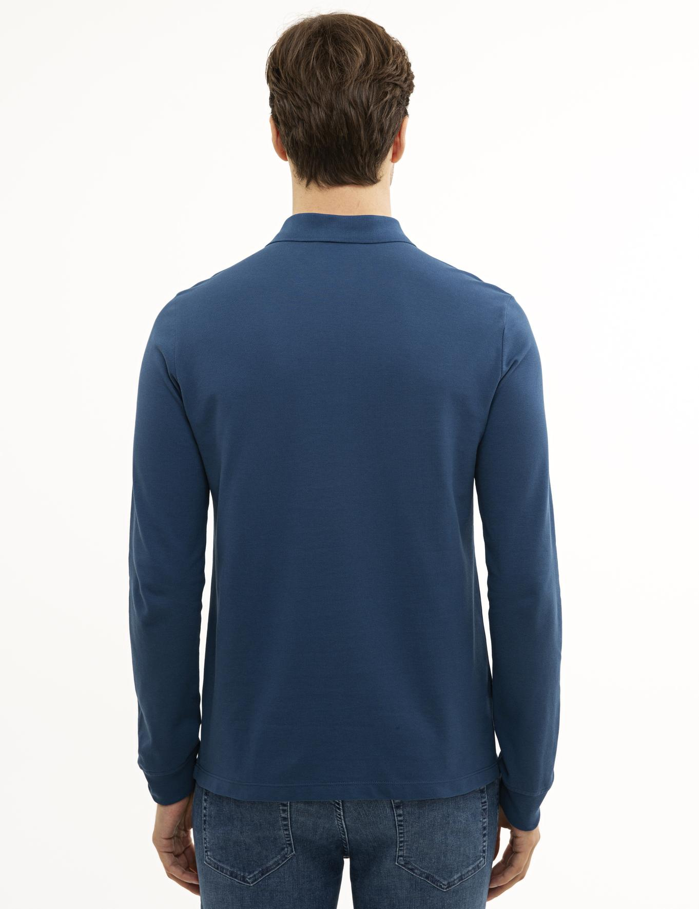 Açık Lacivert Slim Fit Polo Yaka Sweatshirt