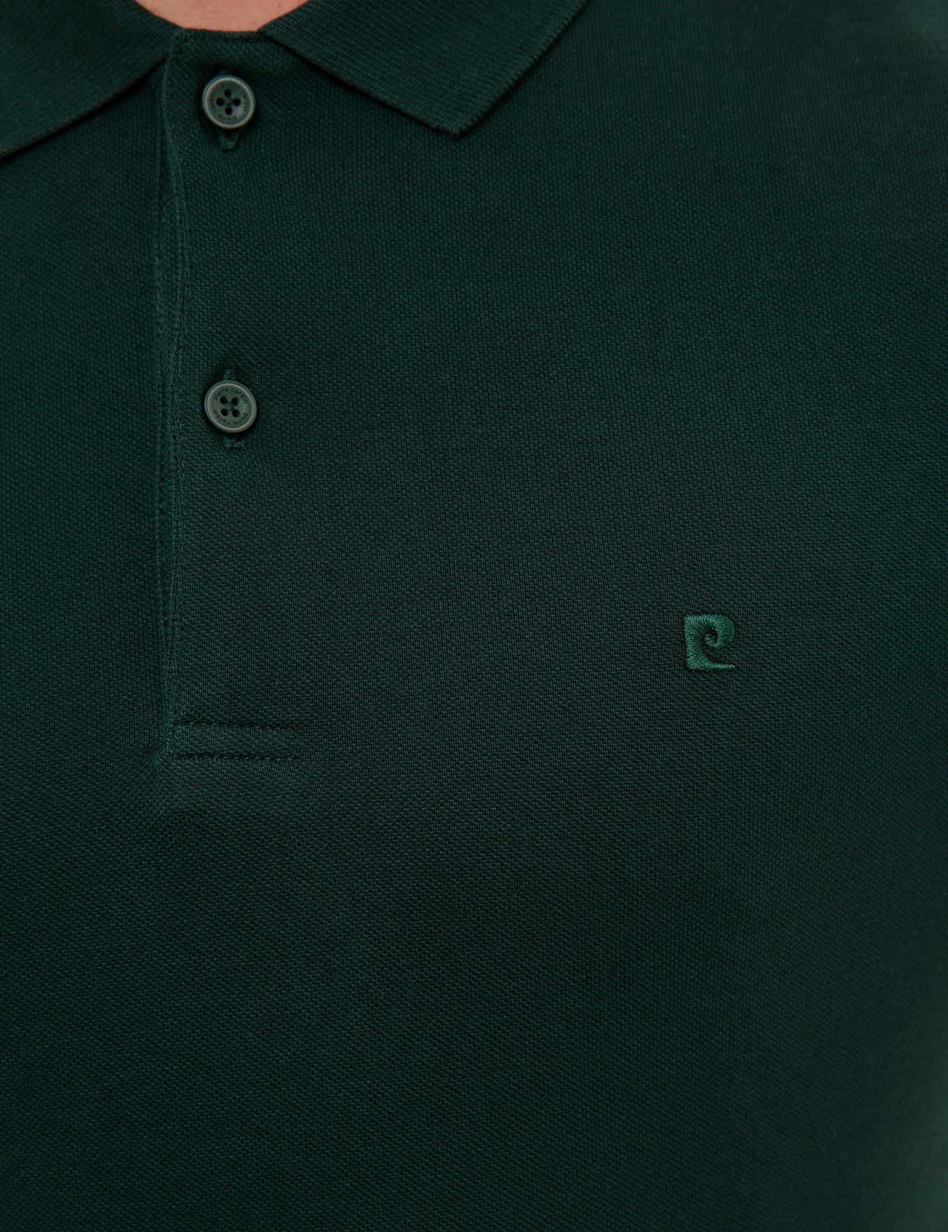 Koyu Yeşil Slim Fit Polo Yaka Sweatshirt