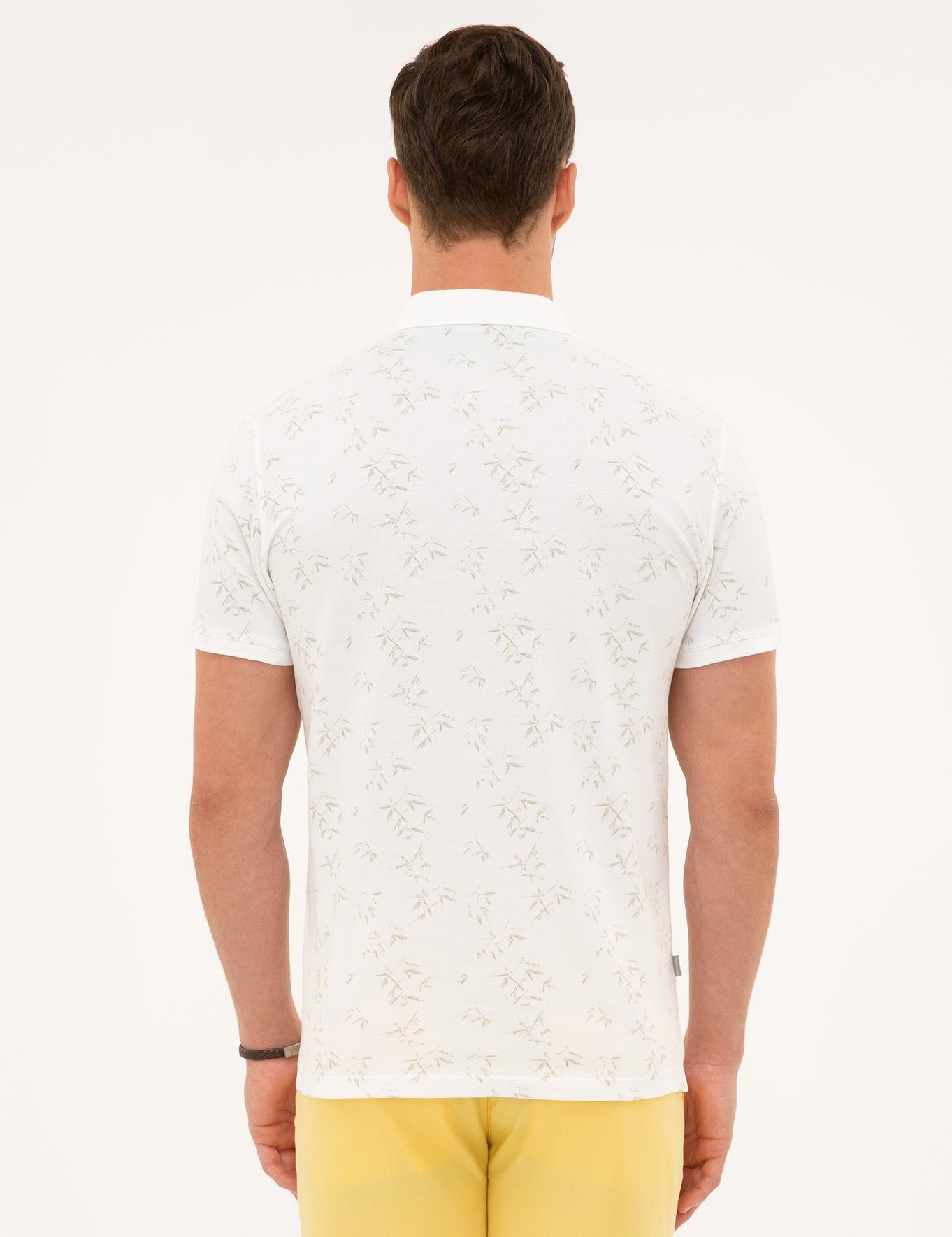 Bej Detaylı Beyaz Slim Fit Polo Yaka T-Shirt