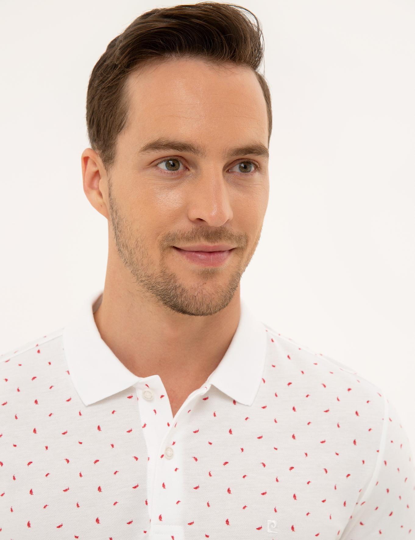 Kırmızı Detaylı Beyaz Slim Fit Polo Yaka T-Shirt
