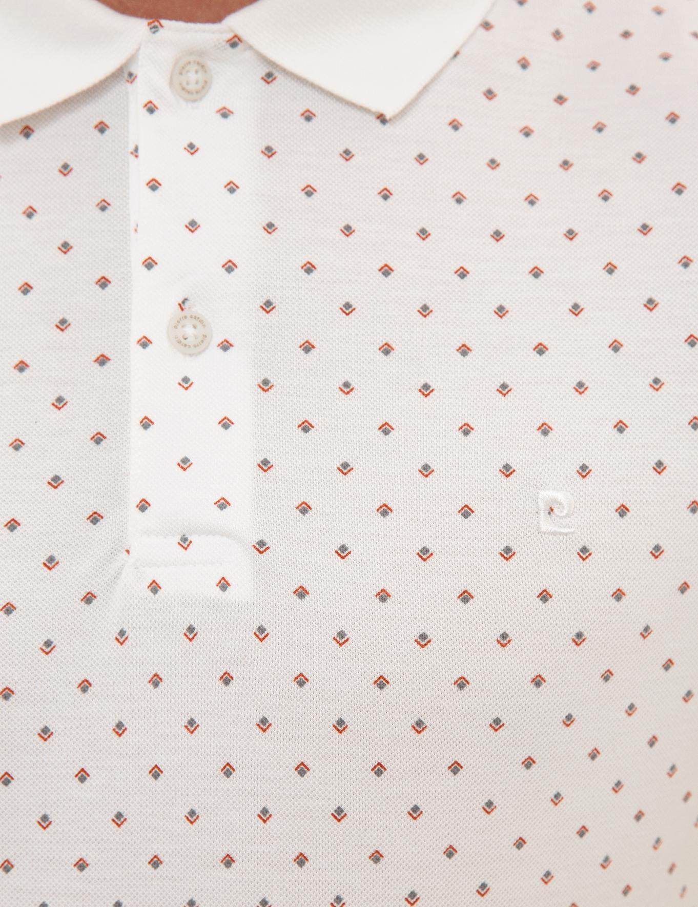 Kahverengi Detaylı Beyaz Slim Fit Polo Yaka T-Shirt