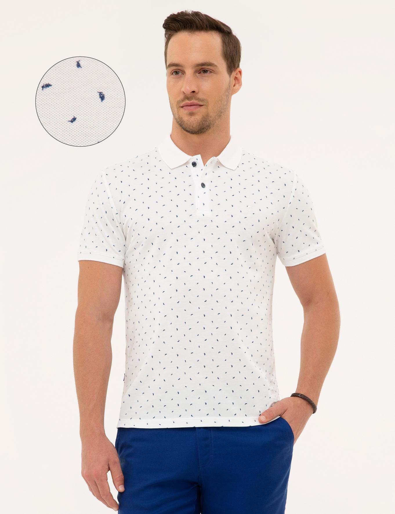 Lacivert Detaylı Beyaz Slim Fit Polo Yaka T-Shirt
