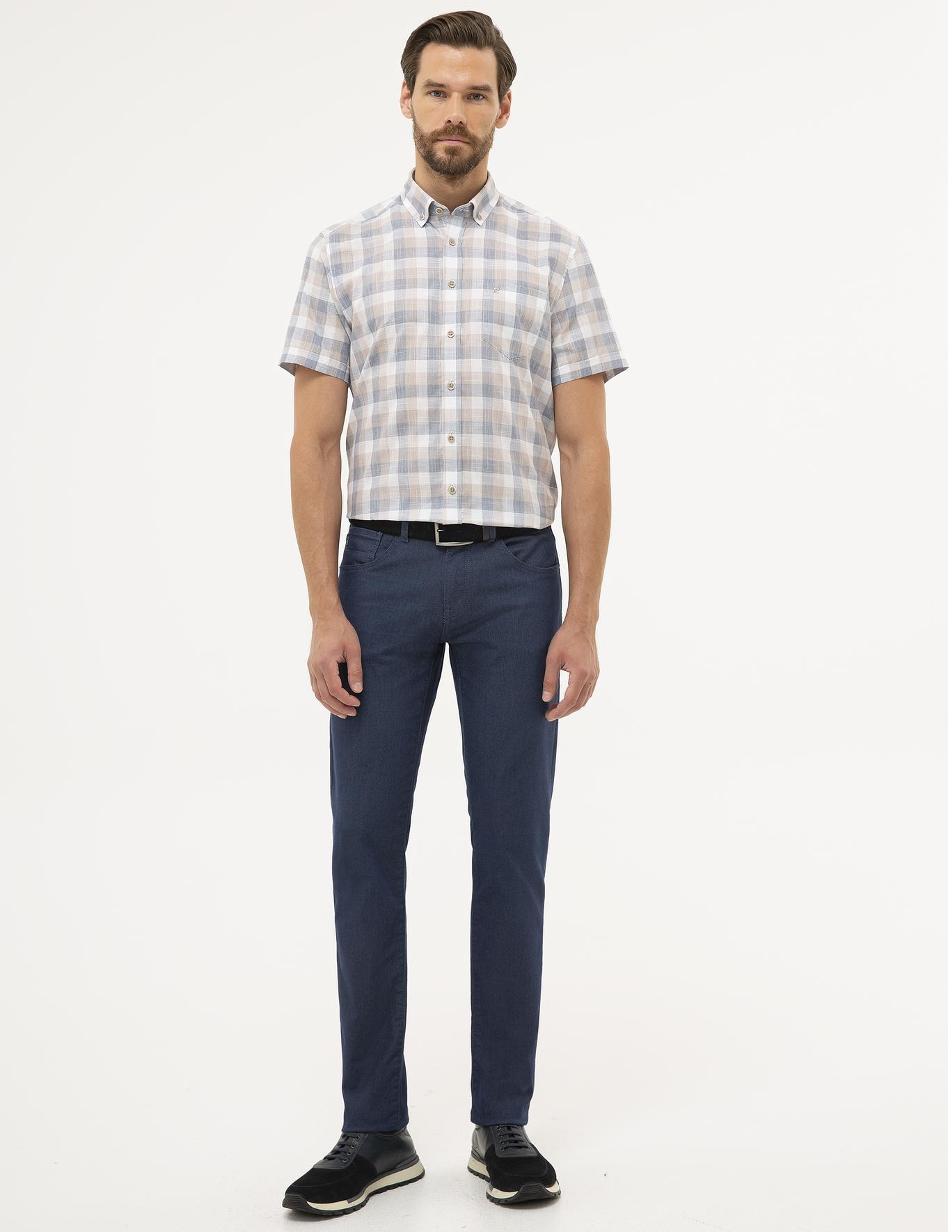 Açık Kahverengi Detaylı Regular Fit Kısa Kollu Gömlek
