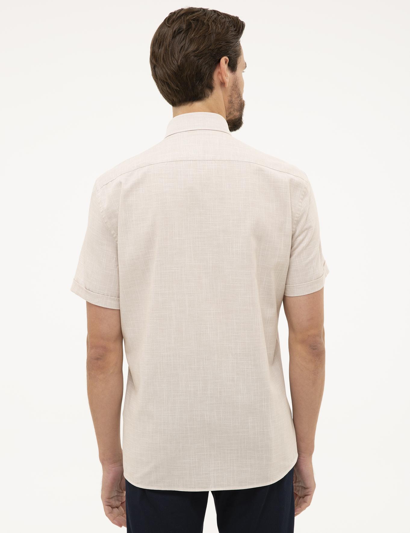 Bej Regular Fit Kısa Kollu Gömlek