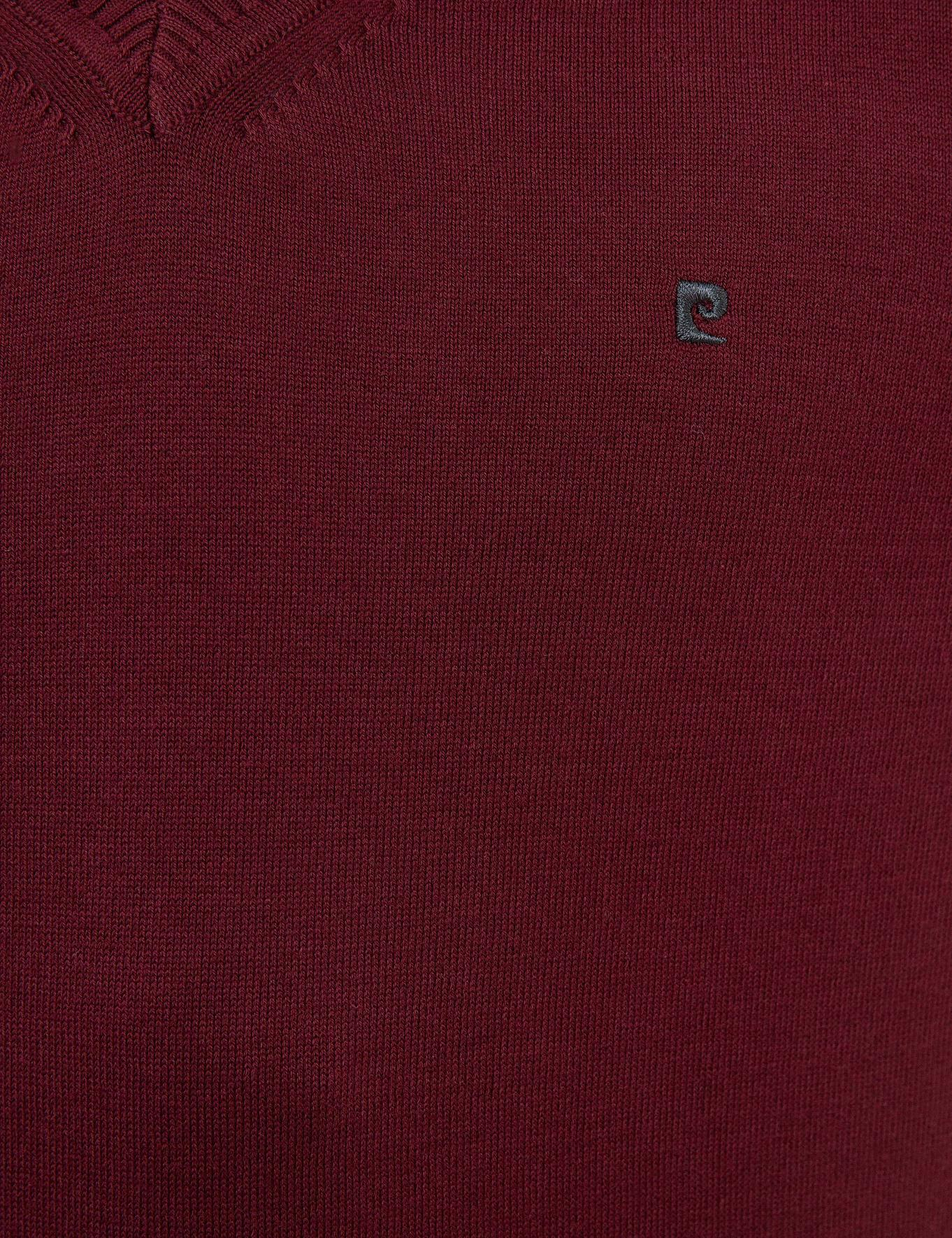Bordo Slim Fit V Yaka Basic Triko Kazak