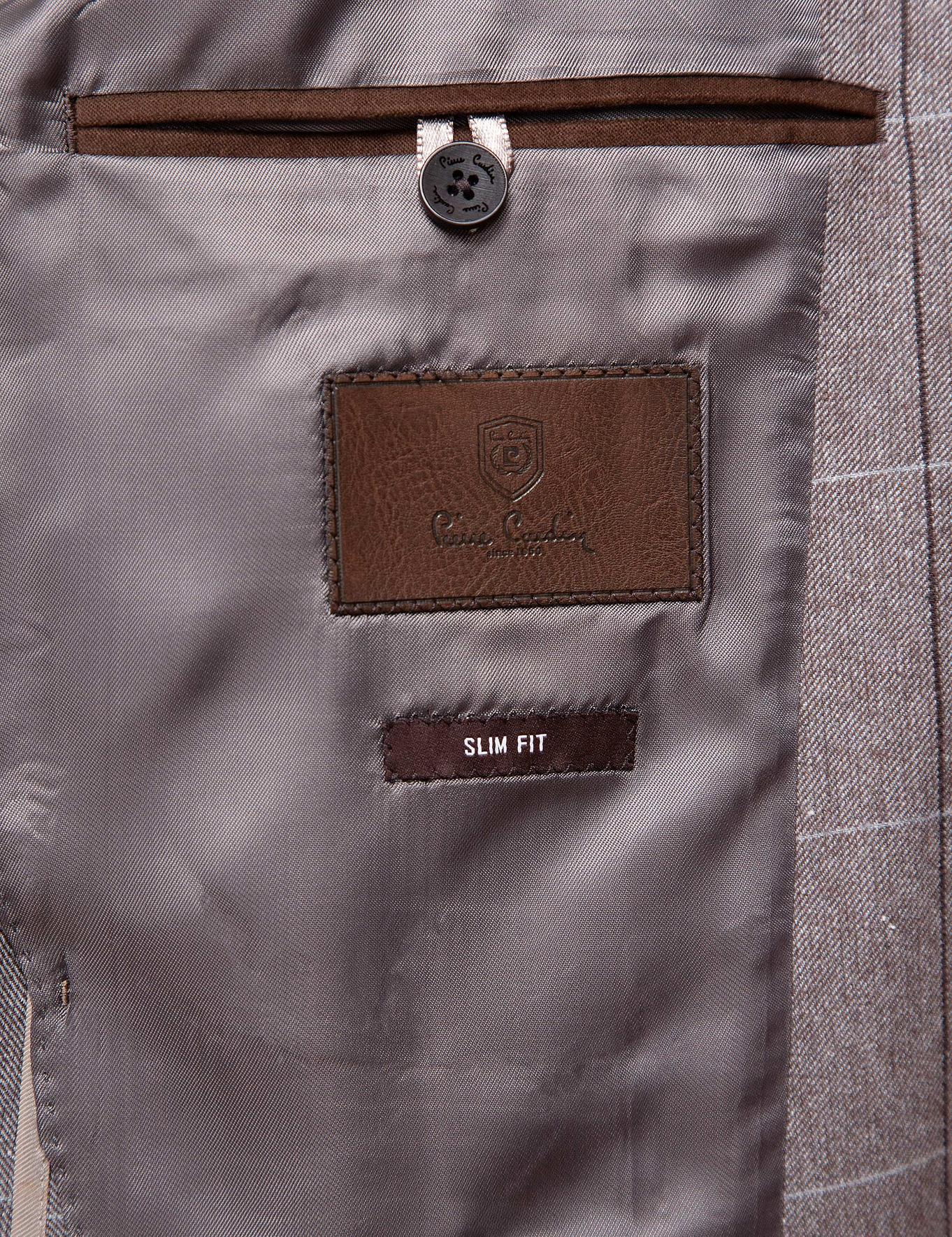 Ekose Açık Kahverengi Slim Fit Ceket