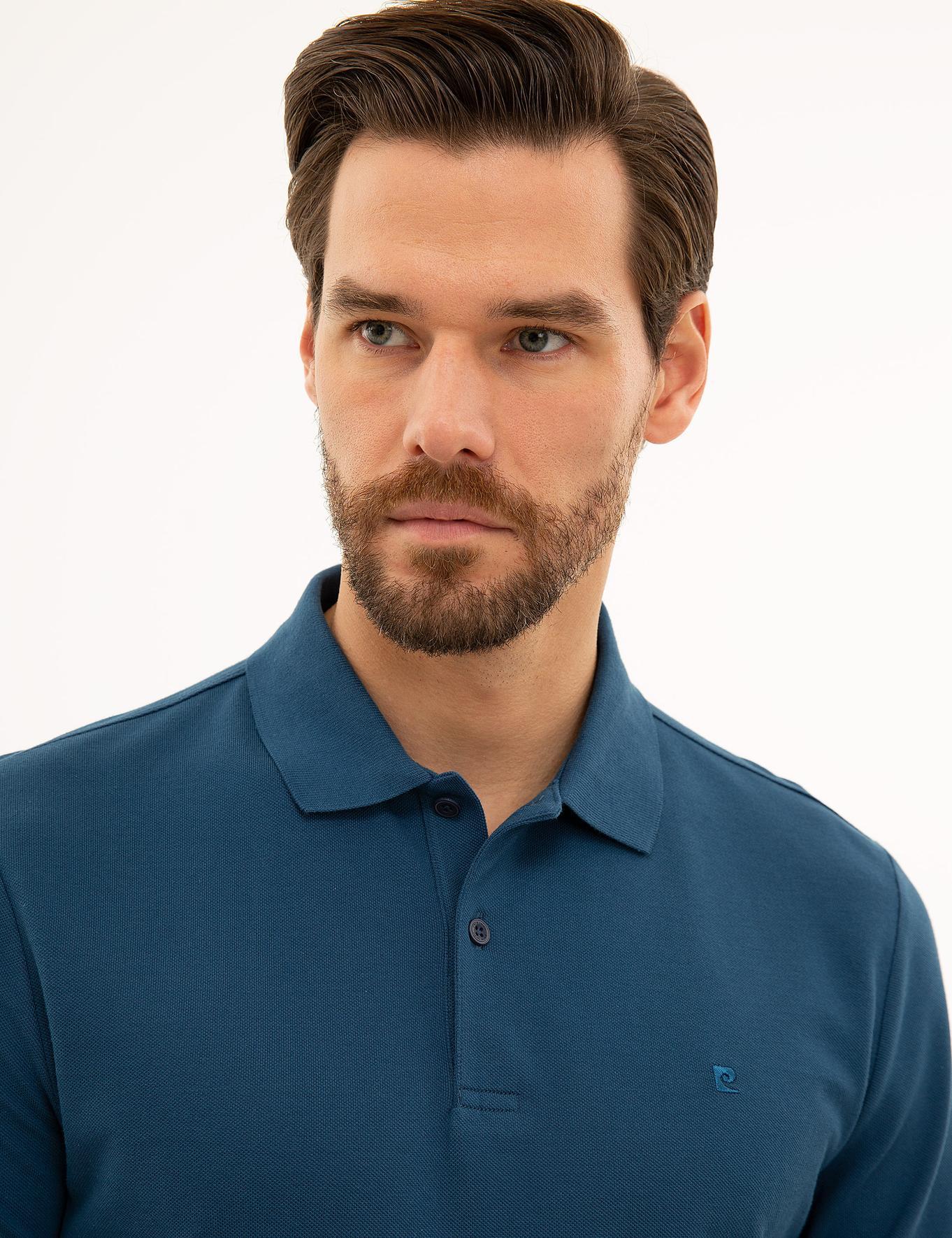 Açık Lacivert Slim Fit Polo Yaka Sweatshirt