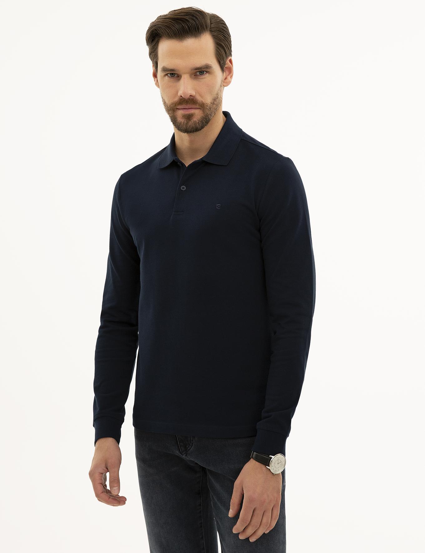 Lacivert Slim Fit Polo Yaka Sweatshirt