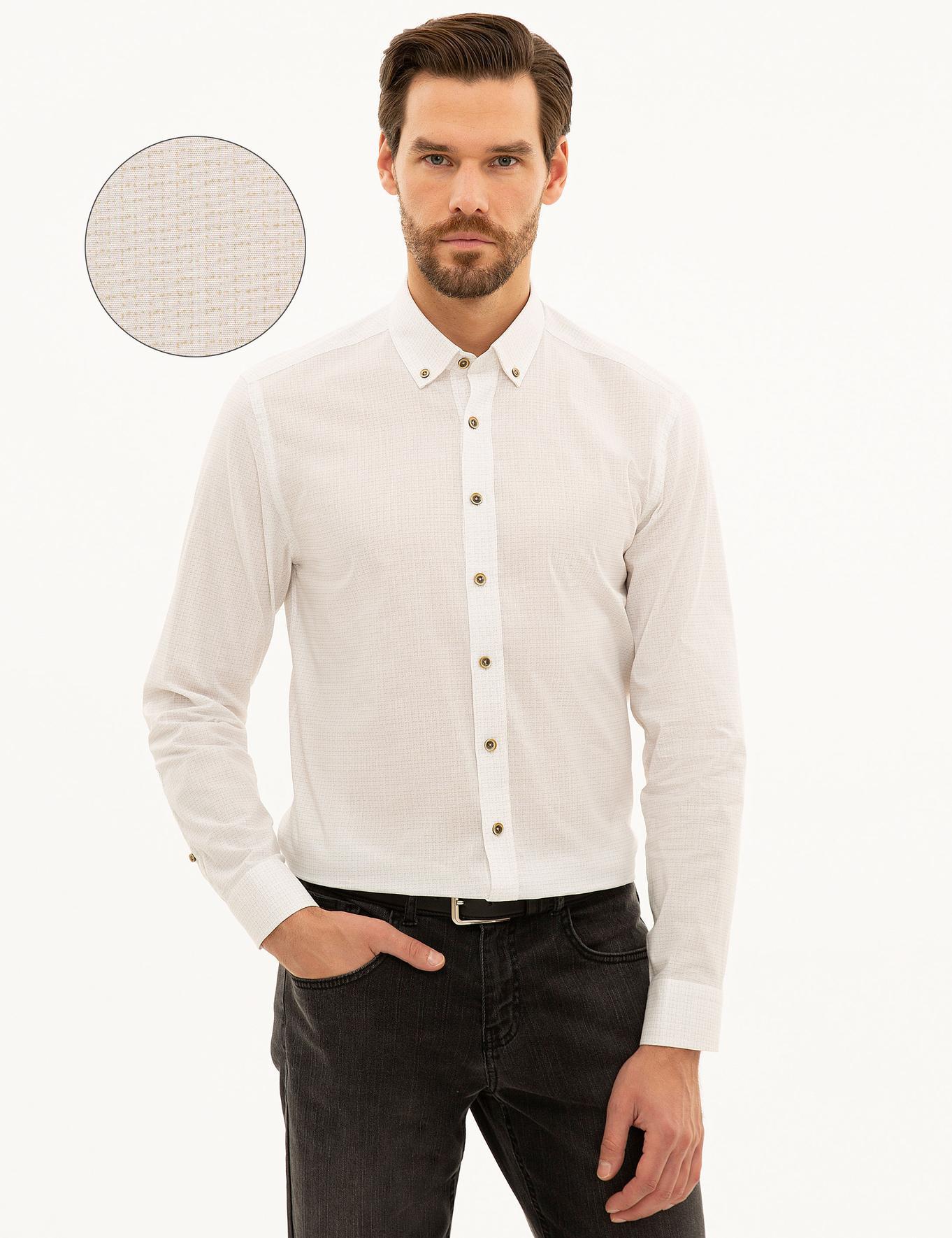 Bej Slim Fit Gömlek