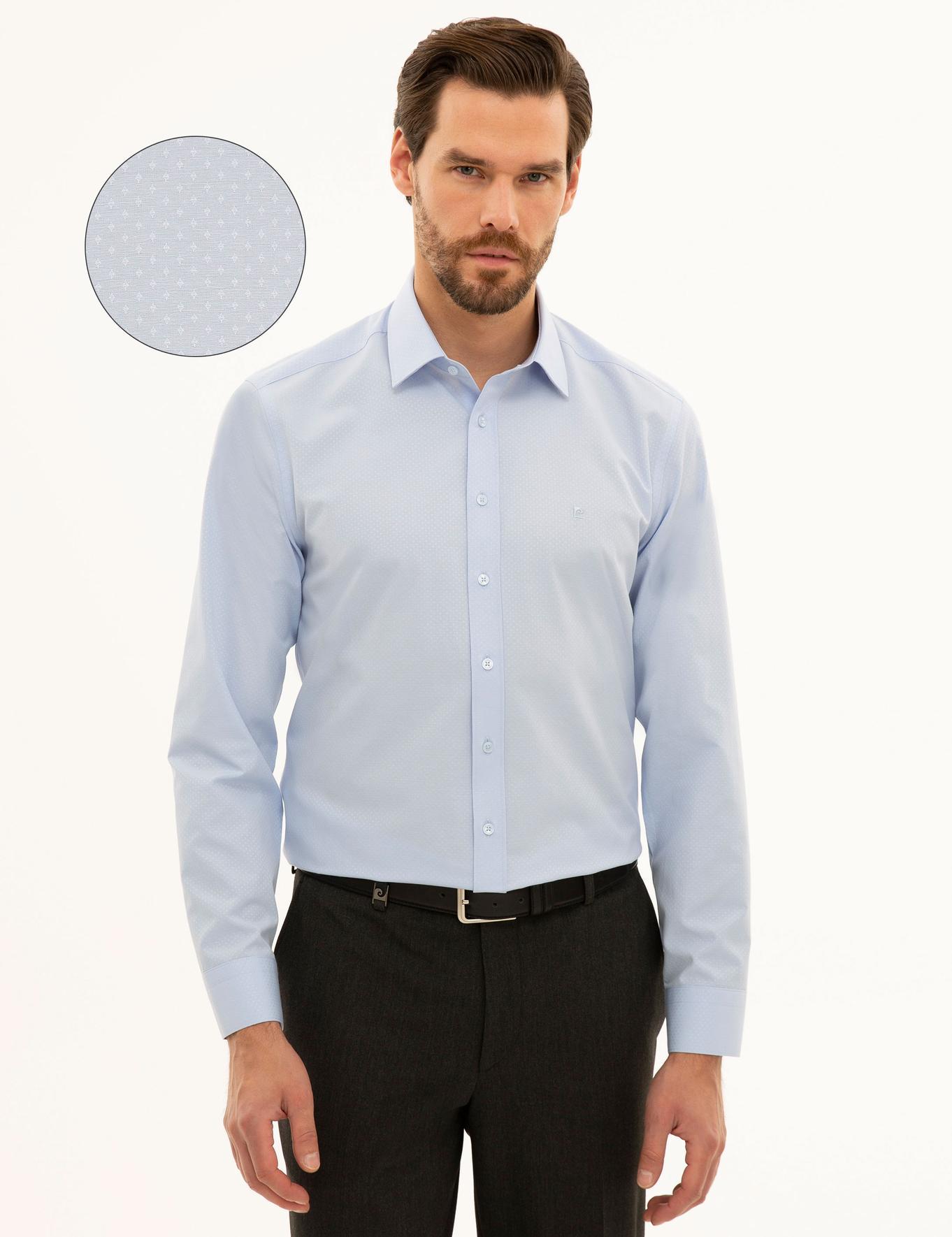 Açık Mavi Slim Fit Armürlü Gömlek