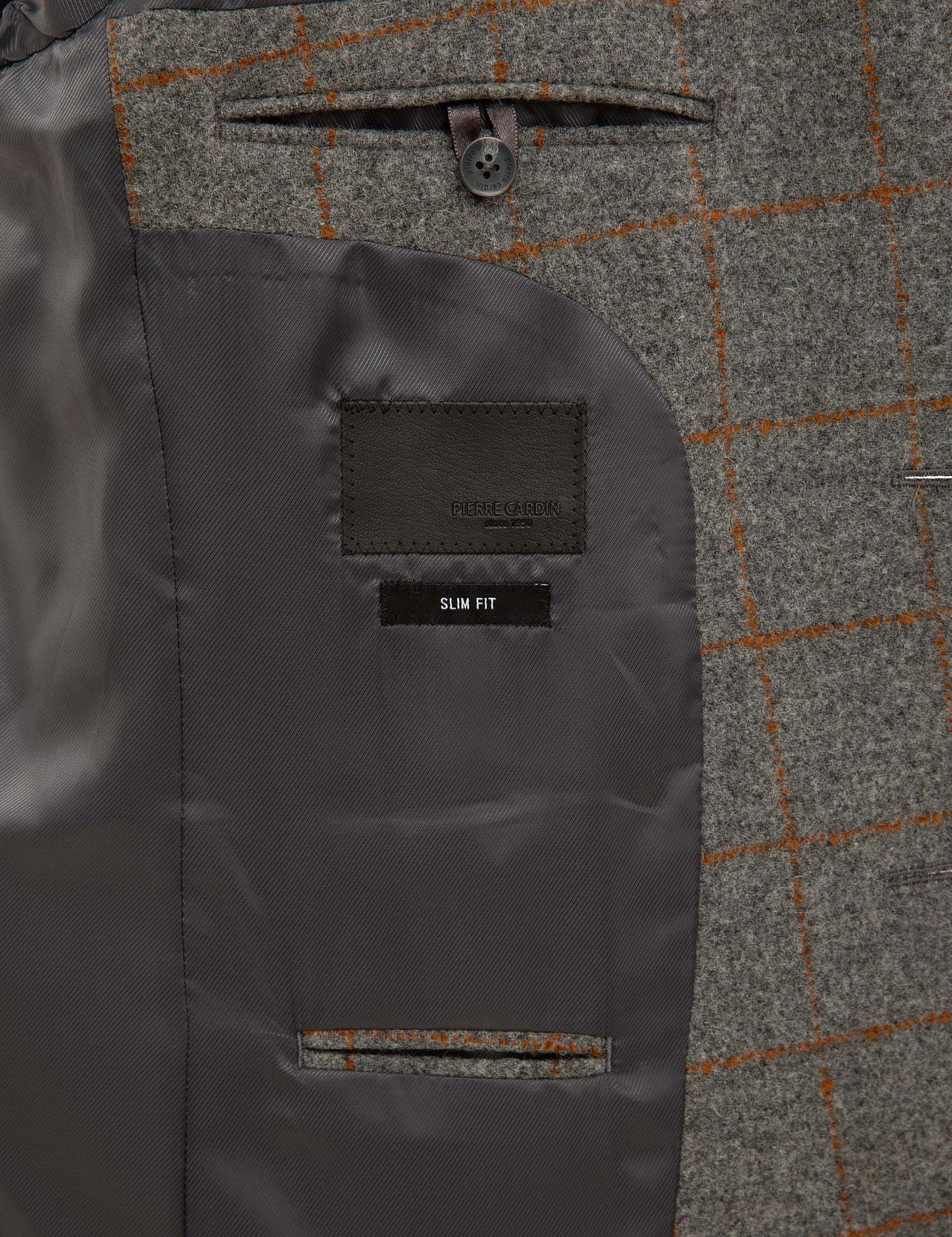 Ekose Füme Slim Fit Ceket