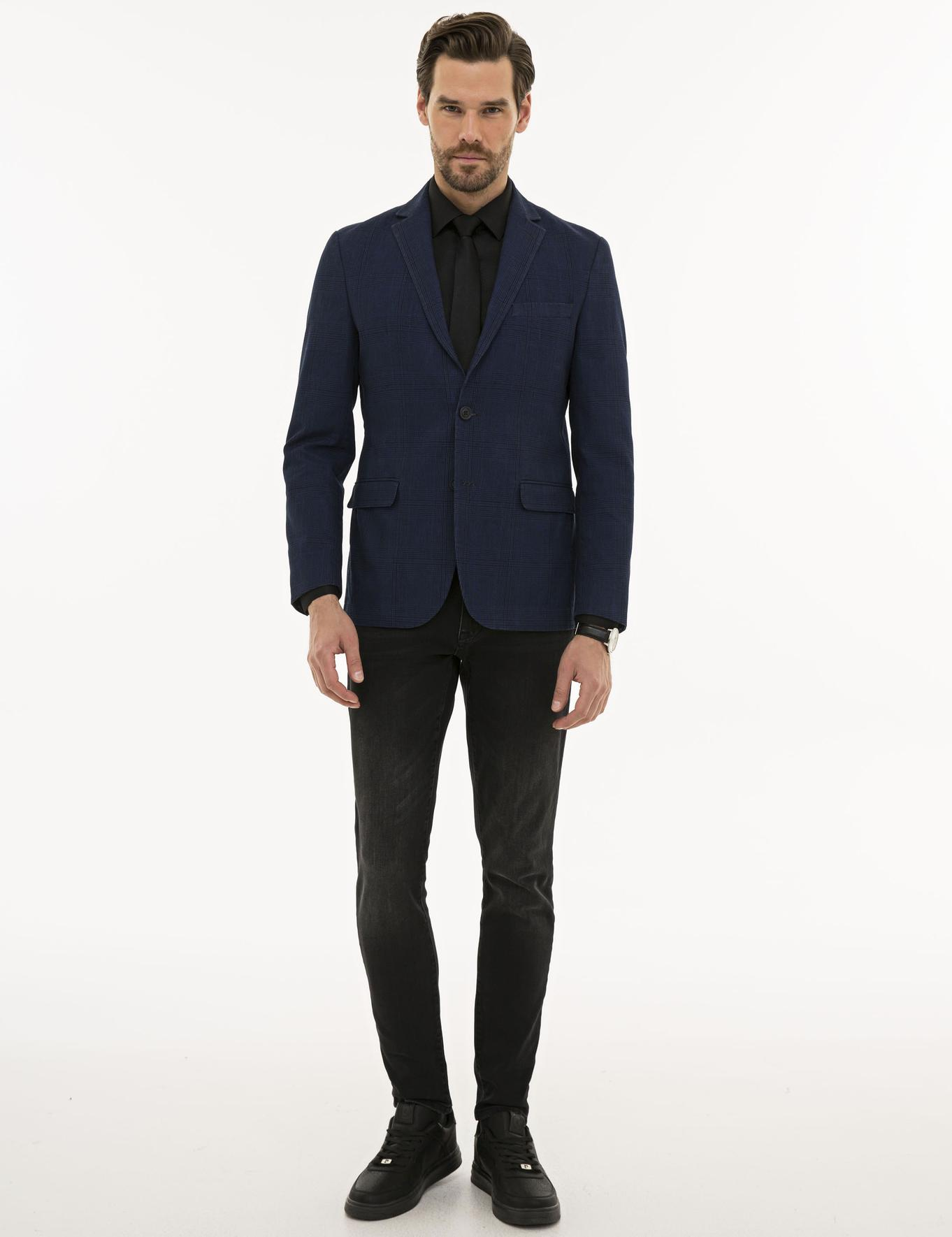 Ekose Koyu Mavi Slim Fit Ceket