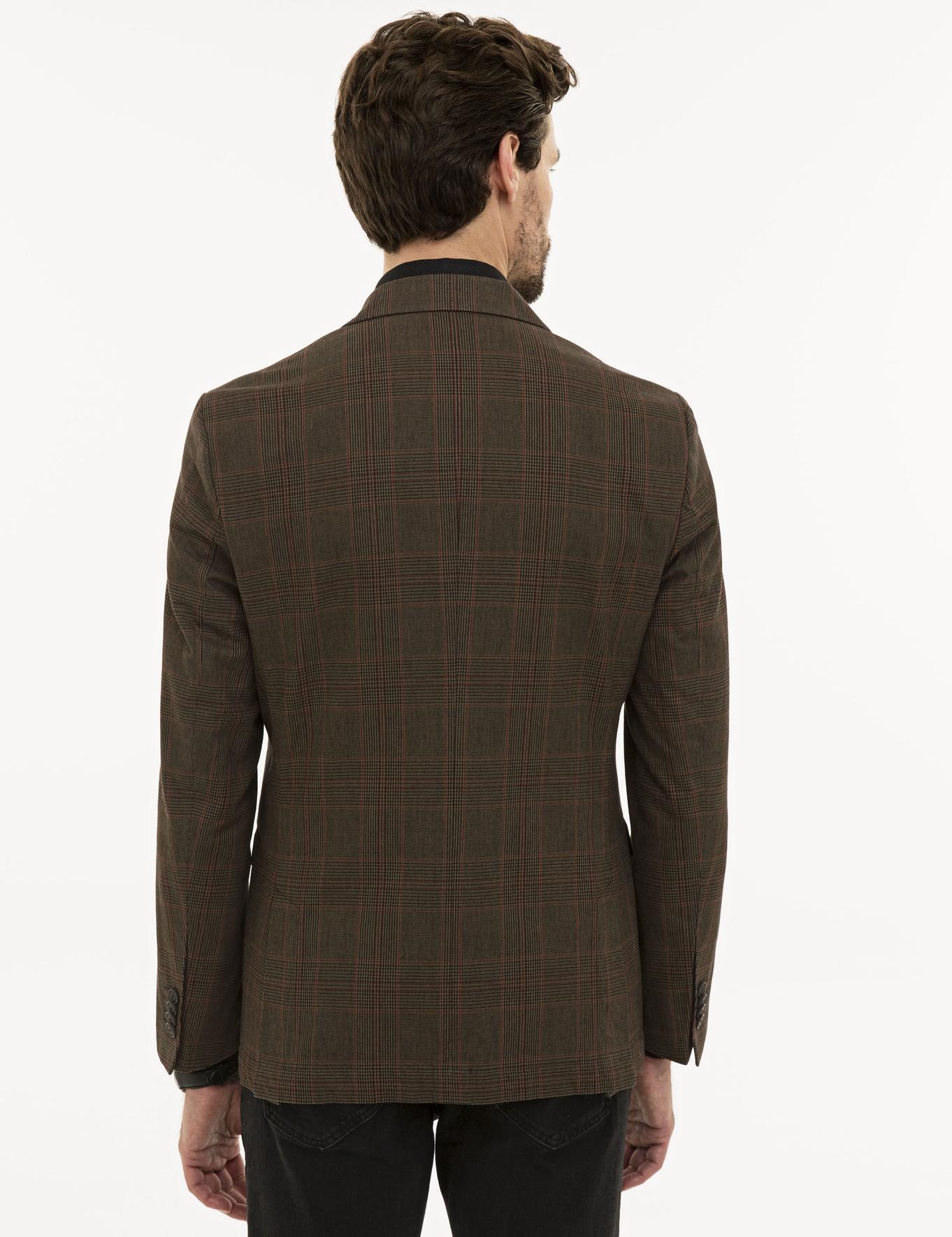 Ekose Kahverengi Slim Fit Ceket
