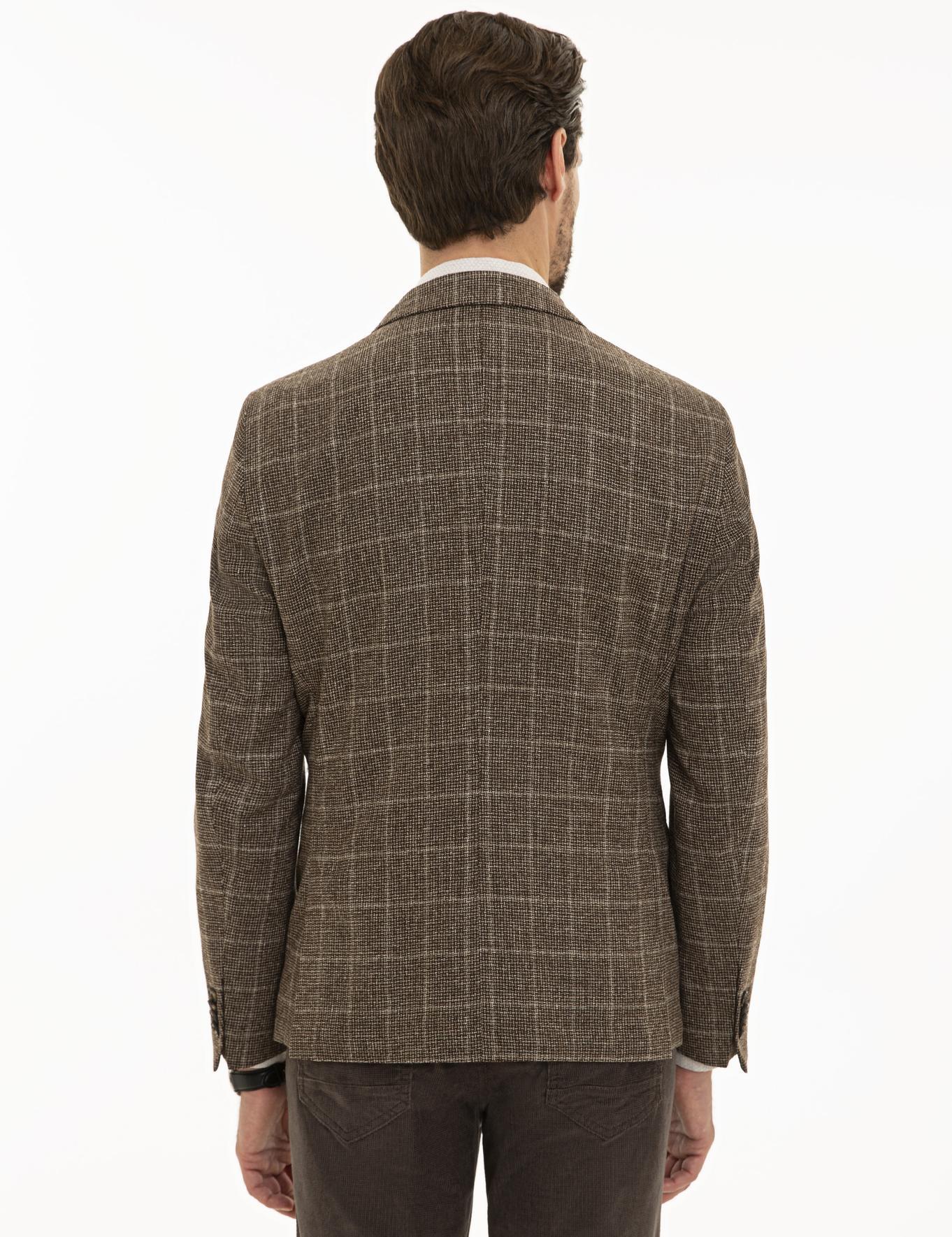 Ekose Kahverengi Ekstra Slim Fit Ceket
