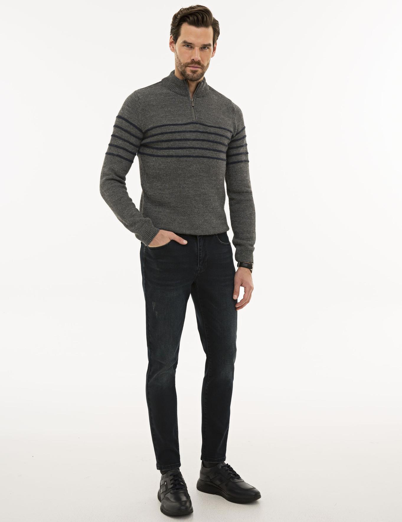 Koyu Lacivert Real Slim Fit Denim Pantolon