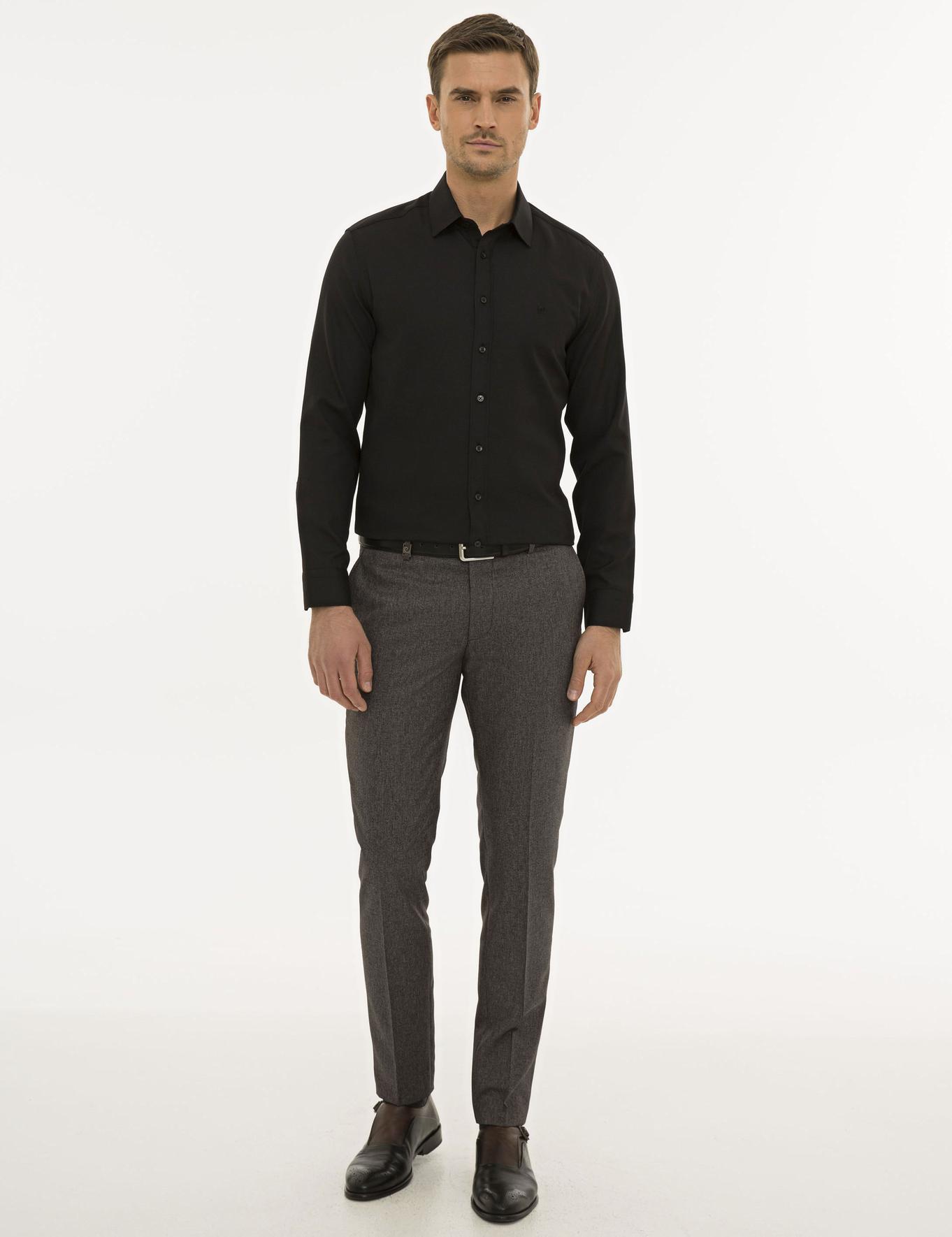 Siyah Slim Fit Oxford Gömlek