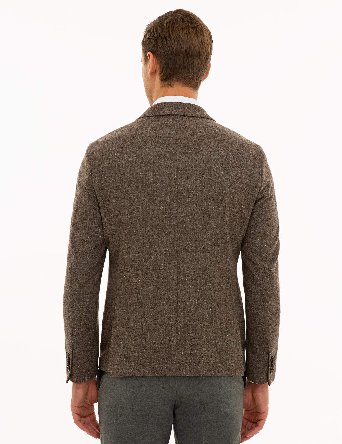 Kahverengi Ex. Slim Fit Ceket