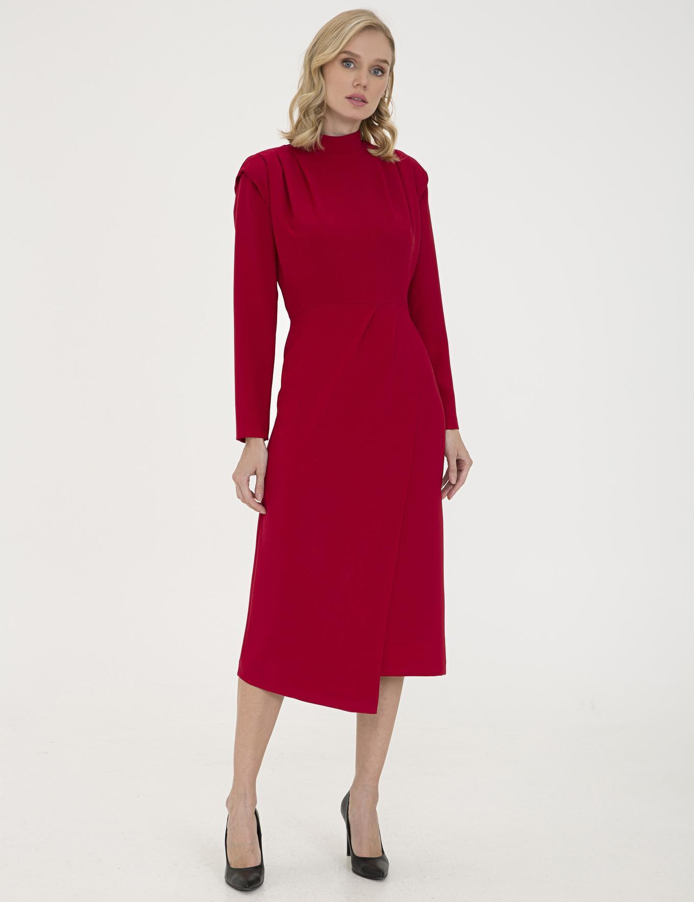 Bordo Comfort Fit Dokuma Elbise