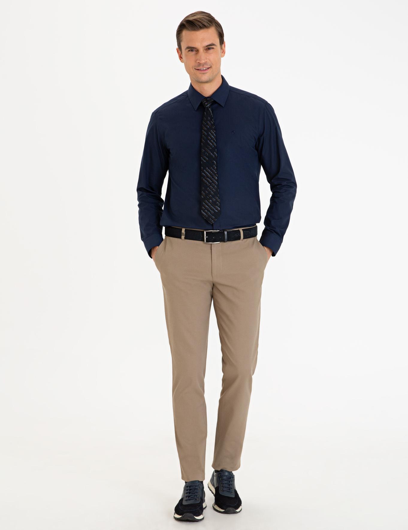 Lacivert Slim Fit Basic Gömlek