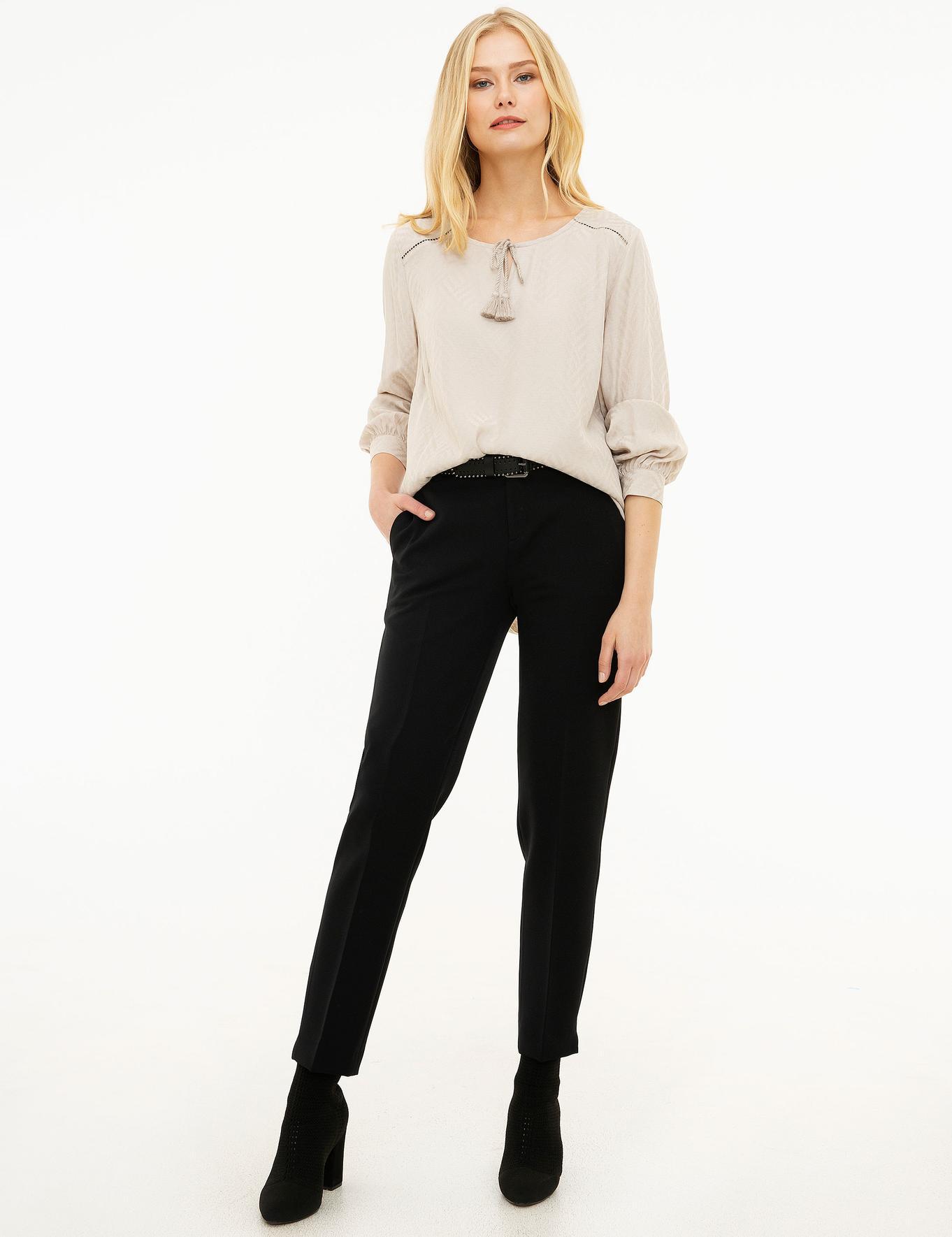 Gri Comfort Fashion Yaka Bluz